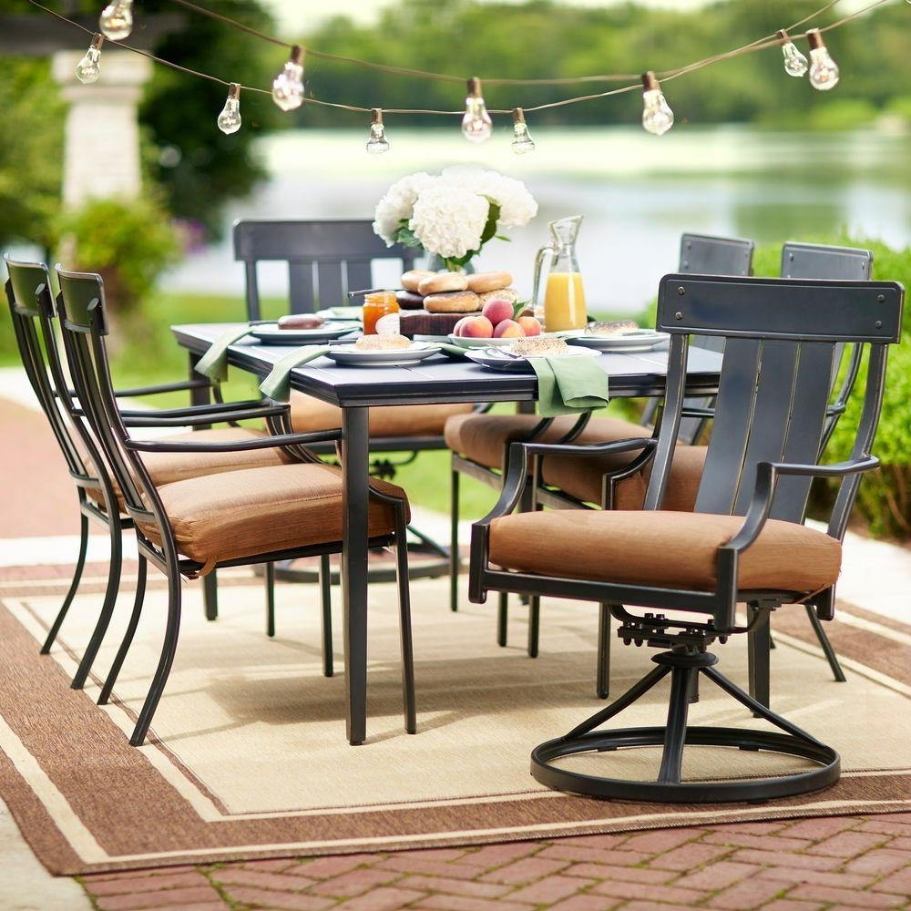 Hampton Bay Oak Heights 7 Piece Metal Outdoor Patio Dining Set With In Well Known Carly 3 Piece Triangle Dining Sets (View 9 of 25)