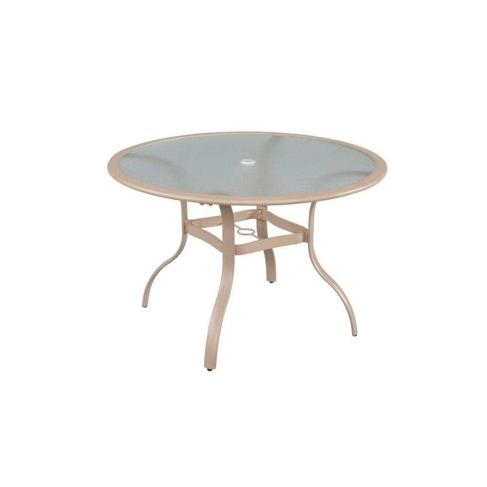 Hampton Bay Westin 44 In. Commercial Contract Grade Round Patio throughout Widely used Acrylic Round Dining Tables