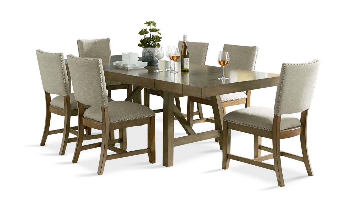 Hampton Counter-Height Dining Table And 6 Upholstered Stoo within Best and Newest Gavin 6 Piece Dining Sets With Clint Side Chairs