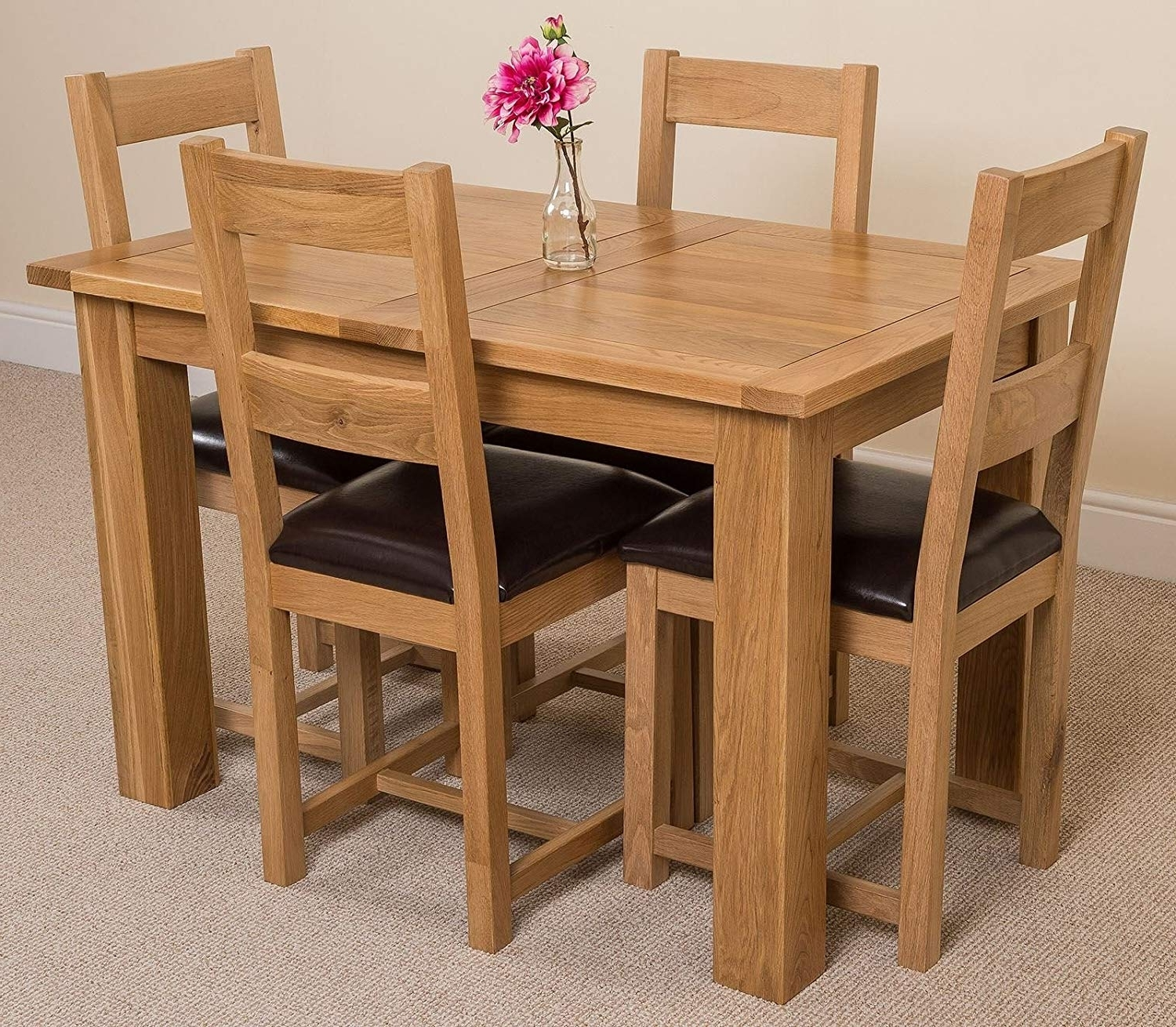 Hampton Solid Oak (120-160 Cm) Extending Dining Table & 4 Lincoln regarding Widely used Oak Extendable Dining Tables And Chairs