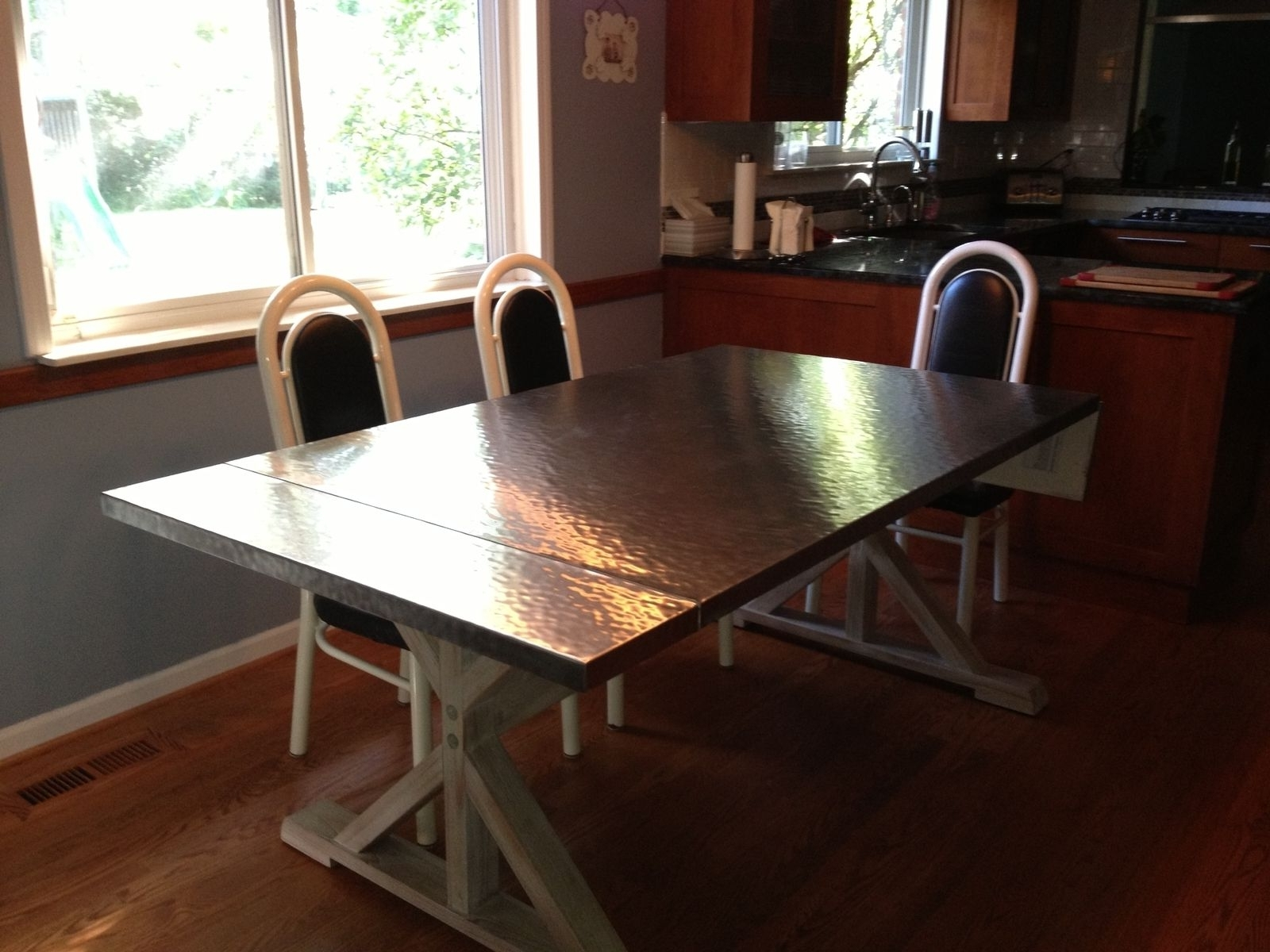 Handmade Custom Hammered Stainless Steel Dining Tablebk Throughout Recent Dining Tables With Metal Legs Wood Top (Gallery 17 of 25)