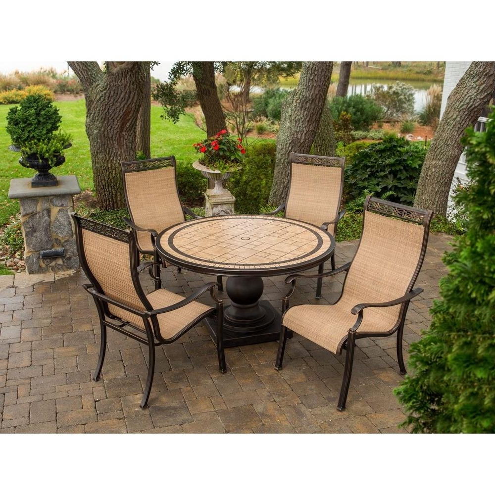 Hanover Monaco 5 Piece Patio Outdoor Dining Set Monaco5Pc – The Home Intended For Recent Monaco Dining Sets (View 5 of 25)