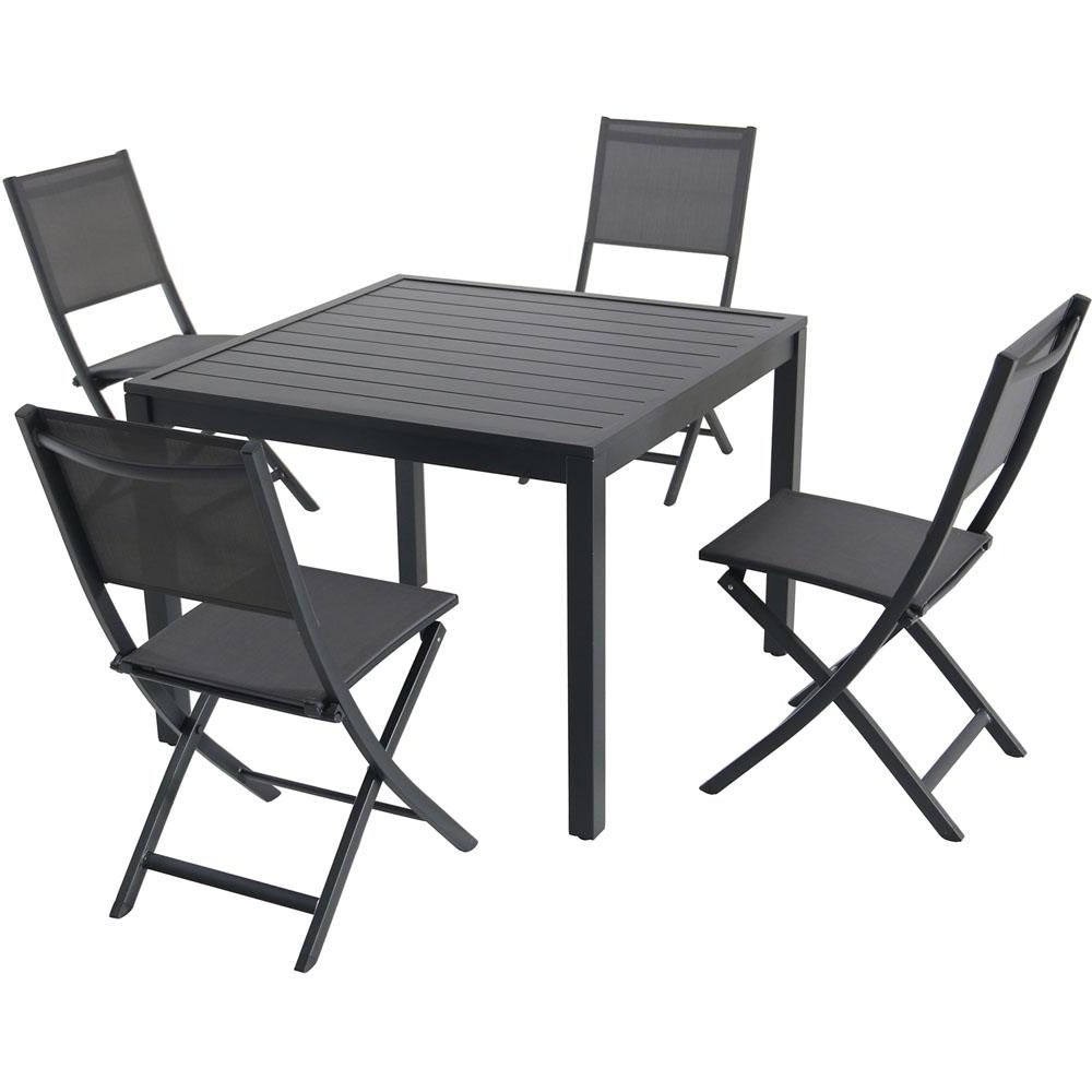 Hanover Naples 5 Piece Aluminum Outdoor Dining Set With 4 Sling Throughout Most Current Folding Outdoor Dining Tables (Gallery 17 of 25)
