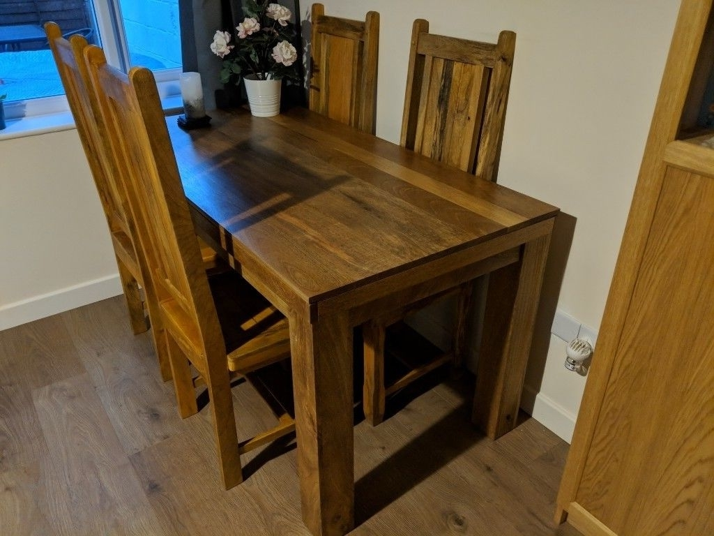 Hardwood Mango Tree Dining Table & 4 Chairs (Gallery 20 of 25)