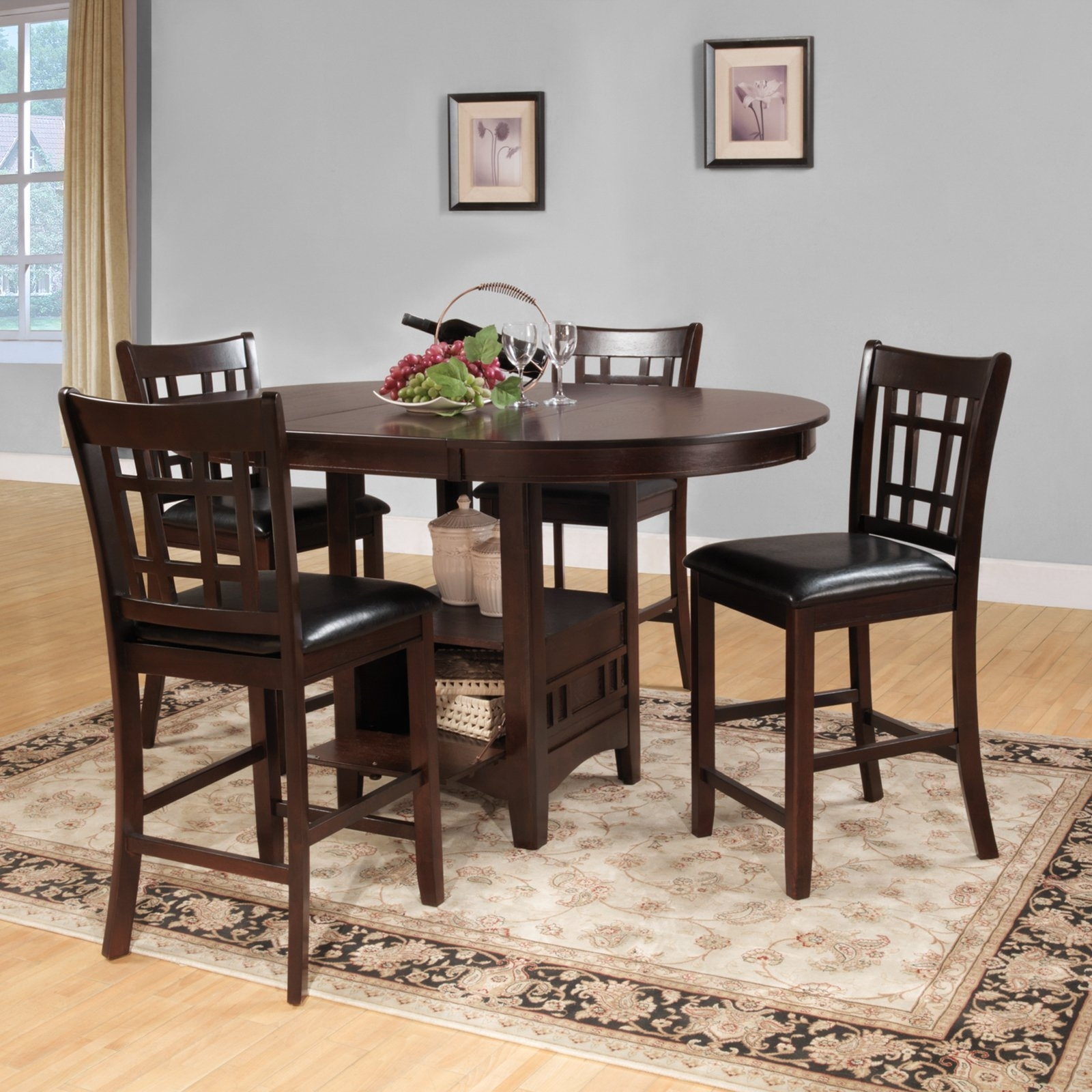 Harper 5 Piece Counter Sets Throughout Newest Weston Home Junipero 5 Pc Counter Height Dining Set, Dark Cherry (View 3 of 25)