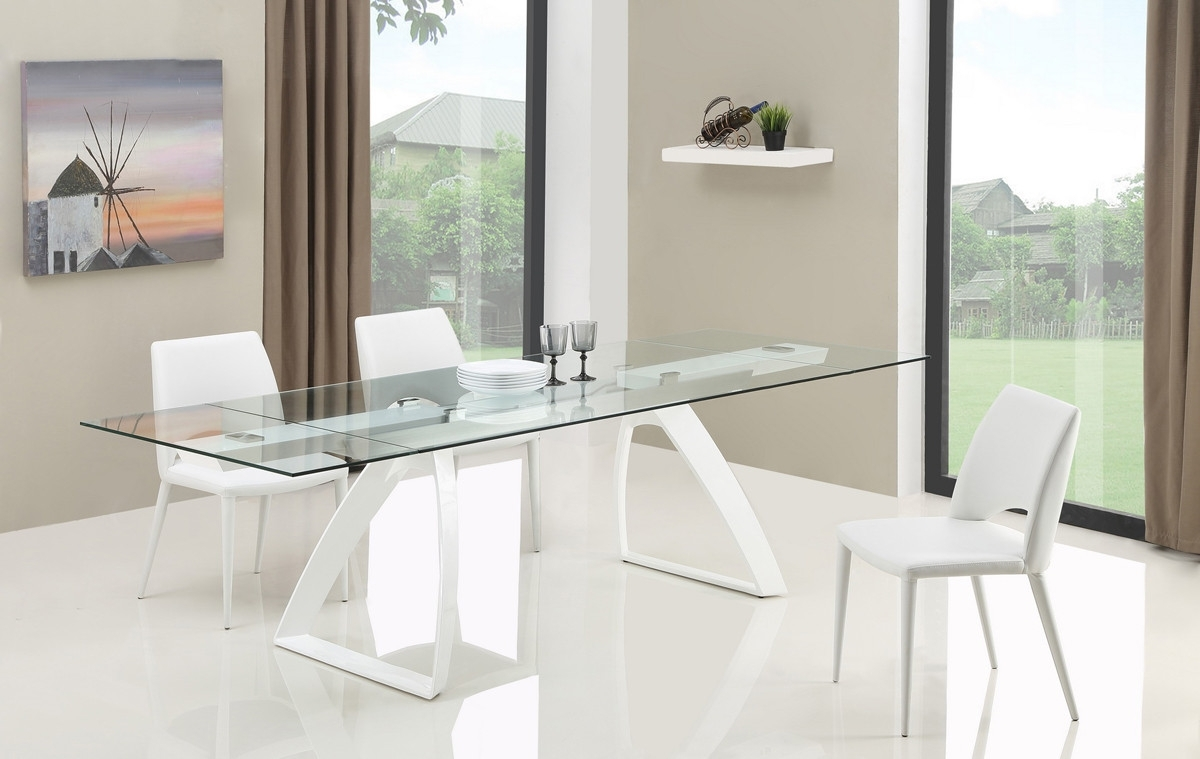 Harvey Dining Tables Regarding Popular Modrest Harvey Modern Extendable Glass Dining Table (Gallery 25 of 25)