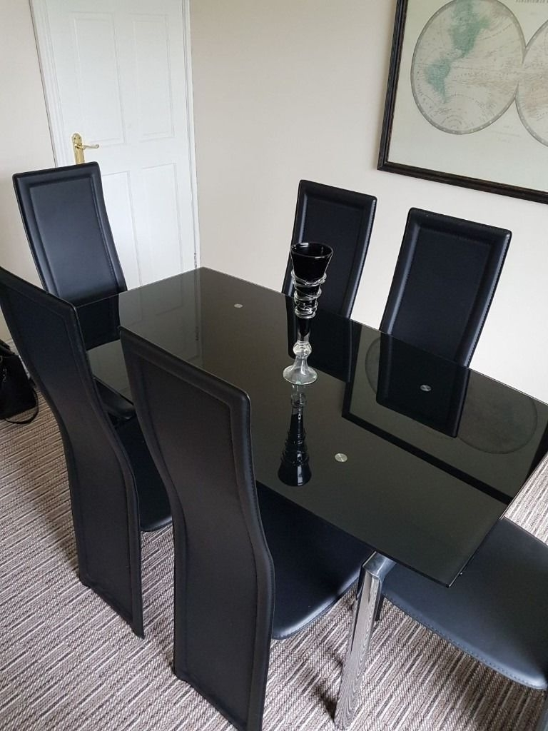 Harveys Milan Black Glass & Chrome Extending Dining Table With 6 throughout Latest Black Glass Dining Tables