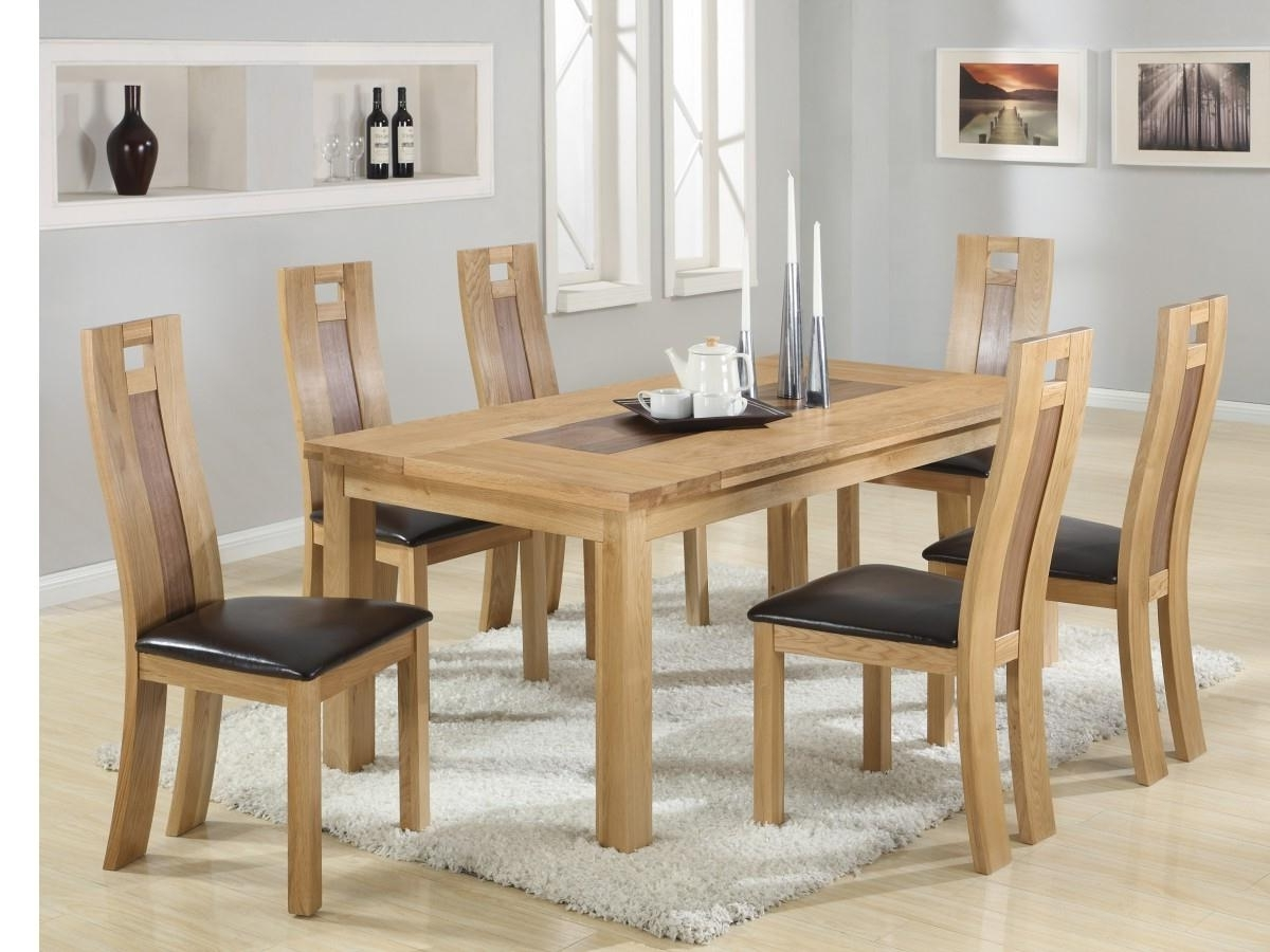Havard Solid Oak Dining Set Including 6 Chairs In Stock For Throughout Popular Oak Dining Sets (Gallery 9 of 25)