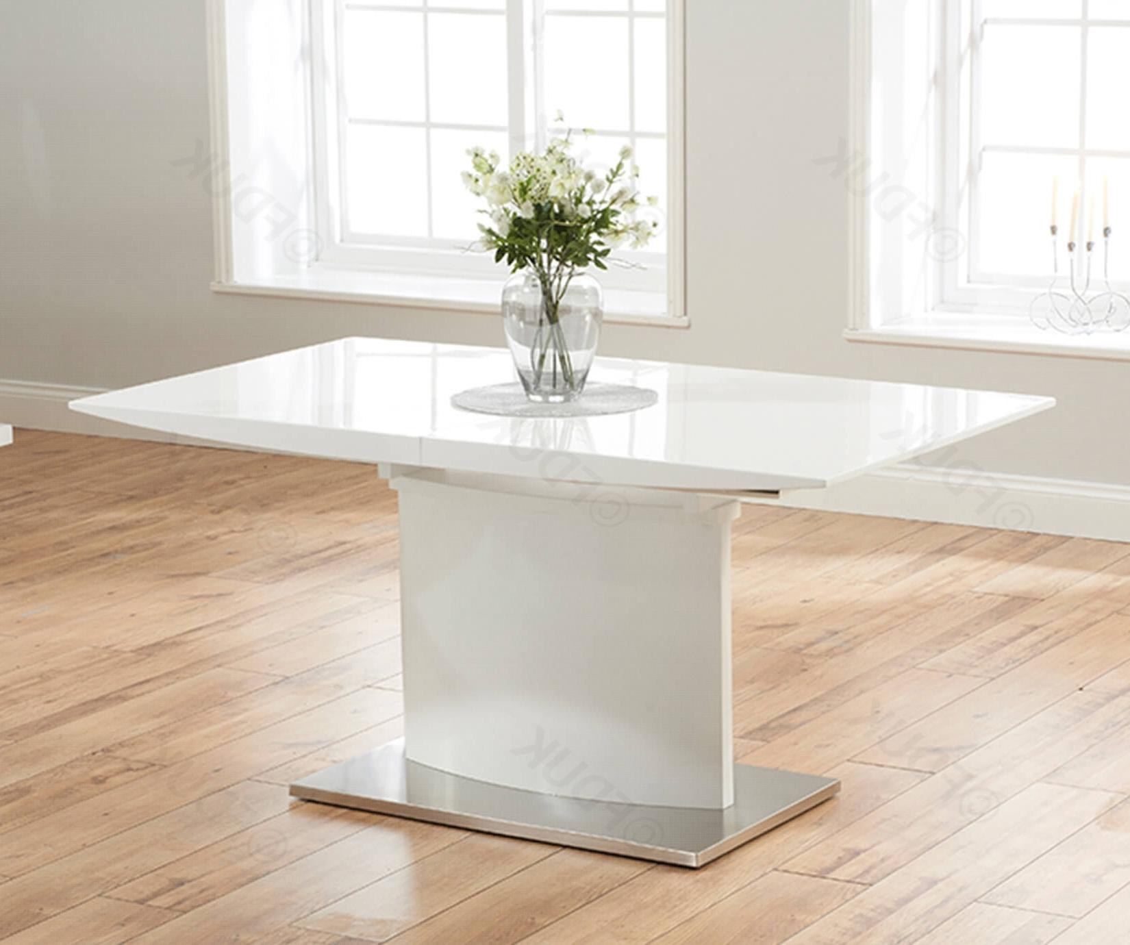 Hayden White High Gloss Extending Dining Table With White Gloss Extending Dining Tables (View 10 of 25)