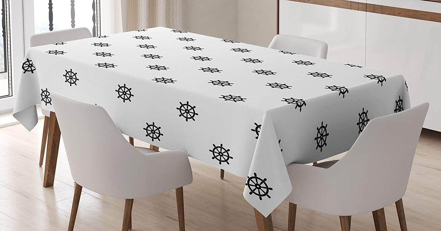 Helms 6 Piece Rectangle Dining Sets With Most Current Amazon: Lunarable Ship's Wheel Tablecloth, Classical Helm (View 17 of 25)
