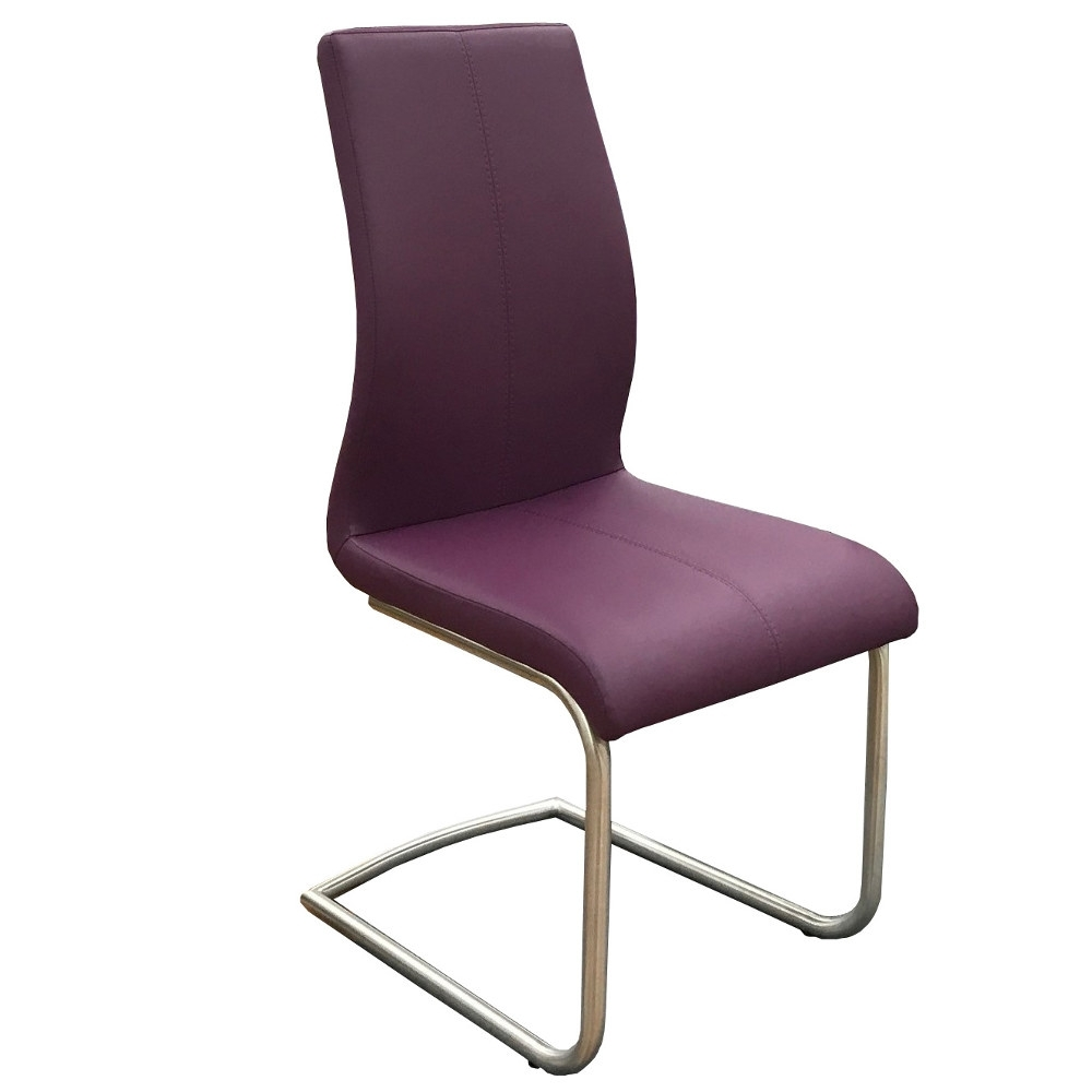 Herne Faux Leather Dining Chair Regarding Most Up To Date Purple Faux Leather Dining Chairs (View 9 of 25)