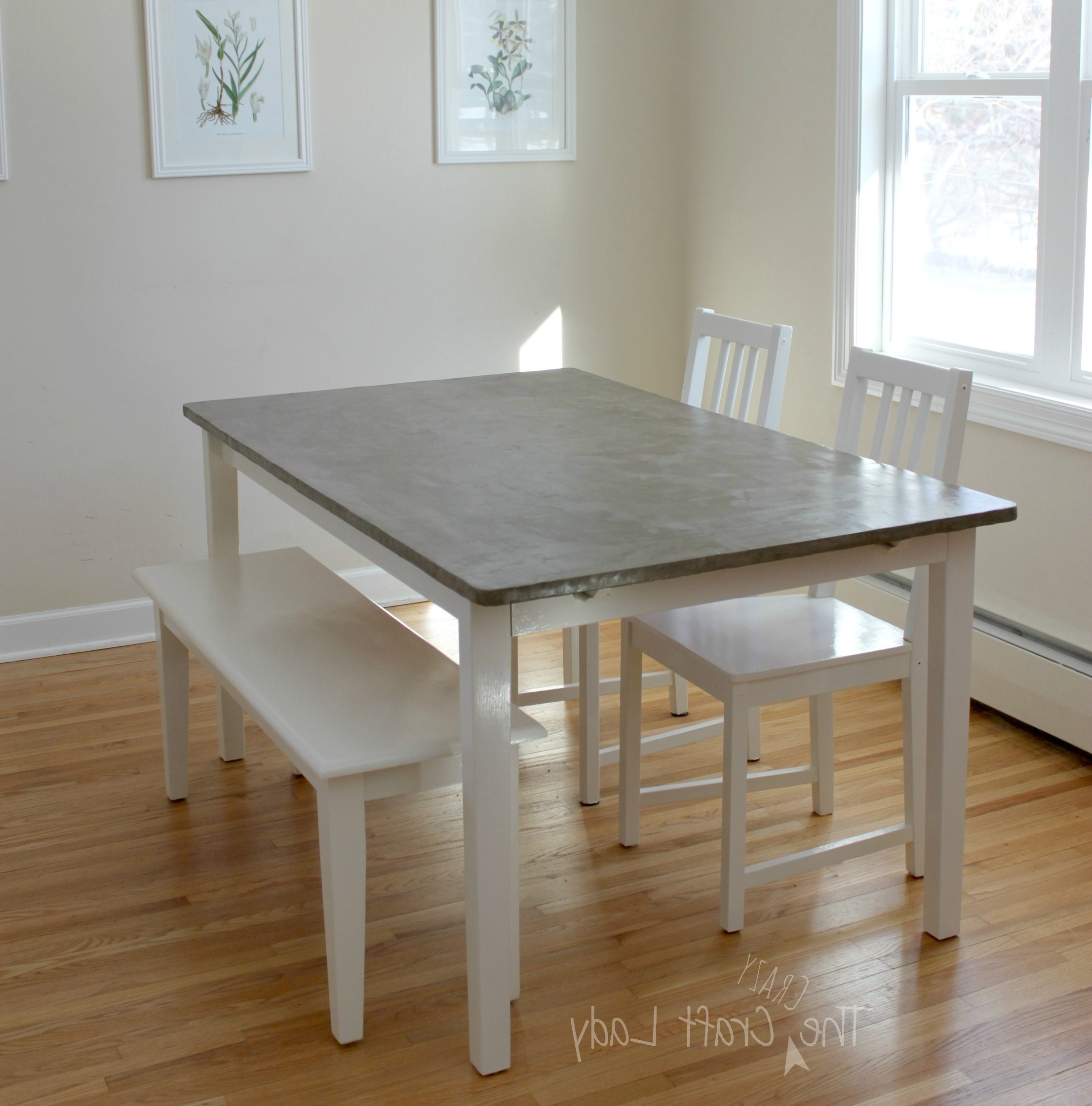 Hi Gloss Dining Tables Sets Regarding Well Liked Diy Concrete Dining Table Top And Dining Set Makeover – The Crazy (View 19 of 25)