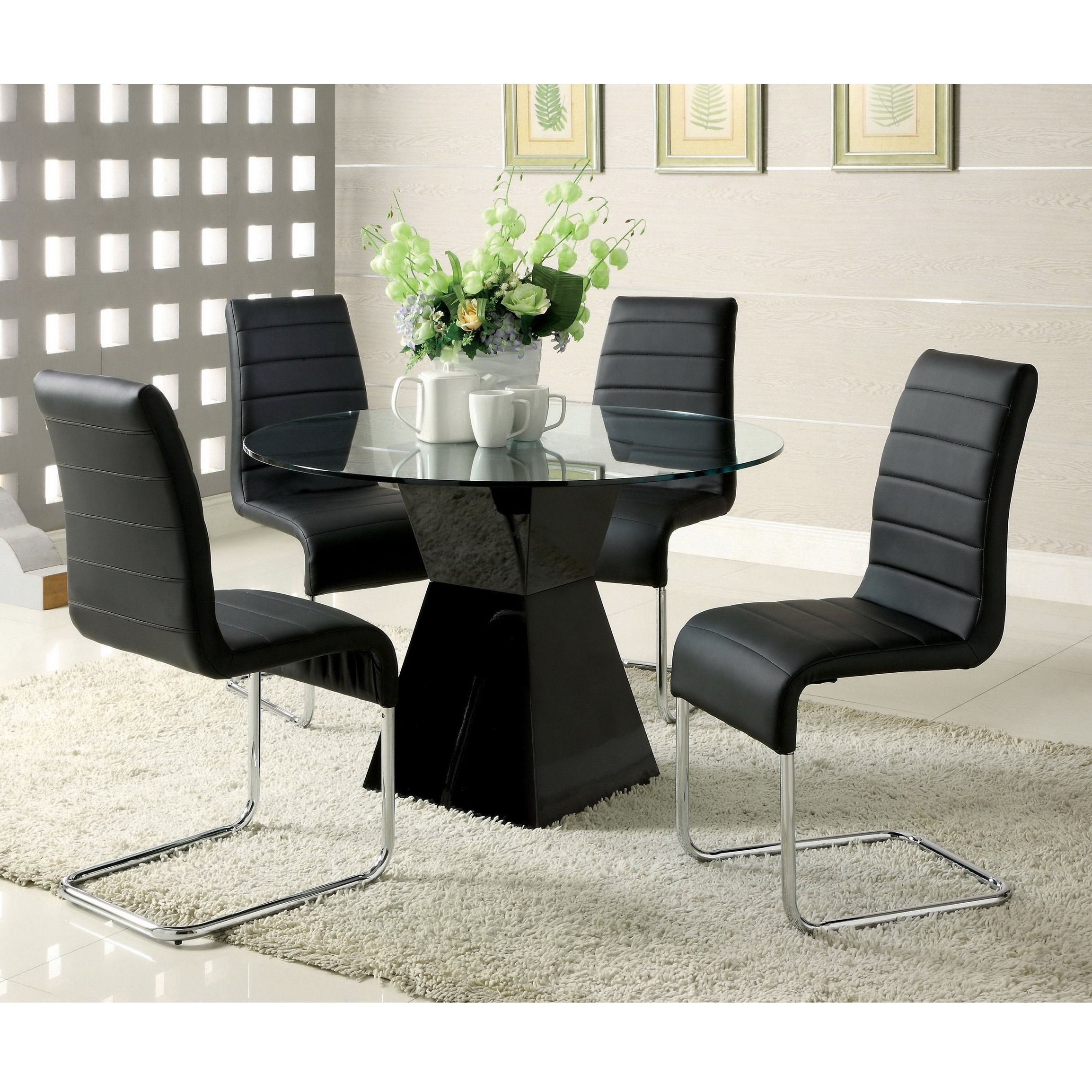 Hi Gloss Dining Tables Sets With 2017 Furniture Of America 'athena' 5 Piece High Gloss Dining Set (Gallery 23 of 25)