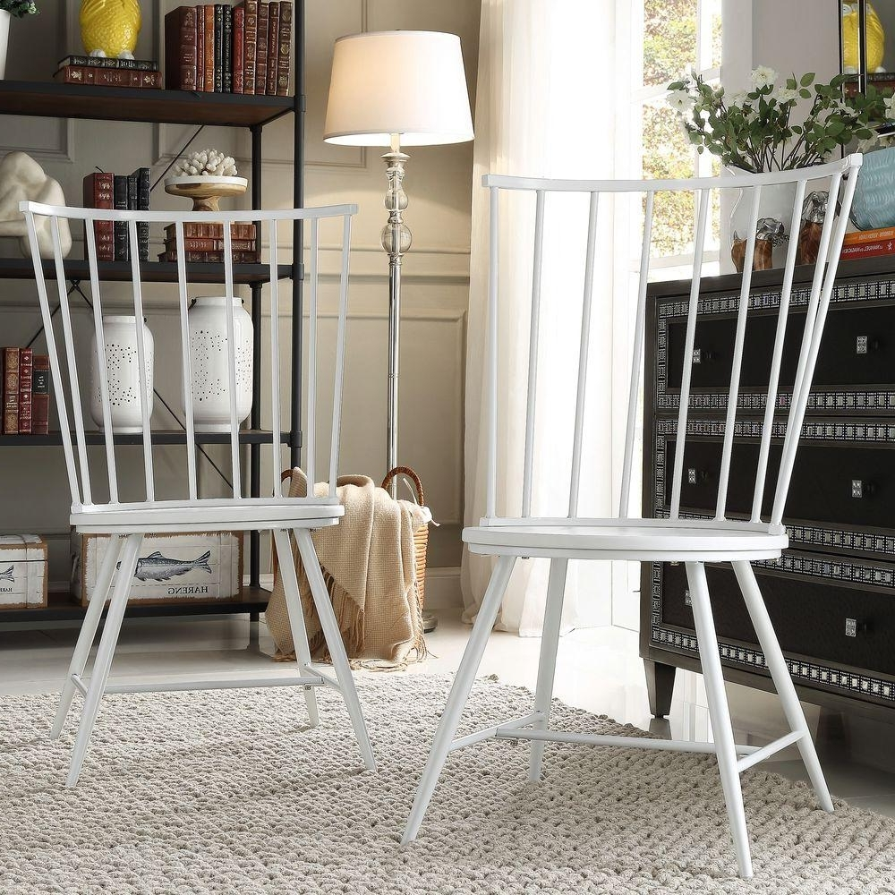 High Back Dining Chairs Throughout Preferred Homesullivan Walker White Wood And Metal High Back Dining Chair (Set (Gallery 9 of 25)