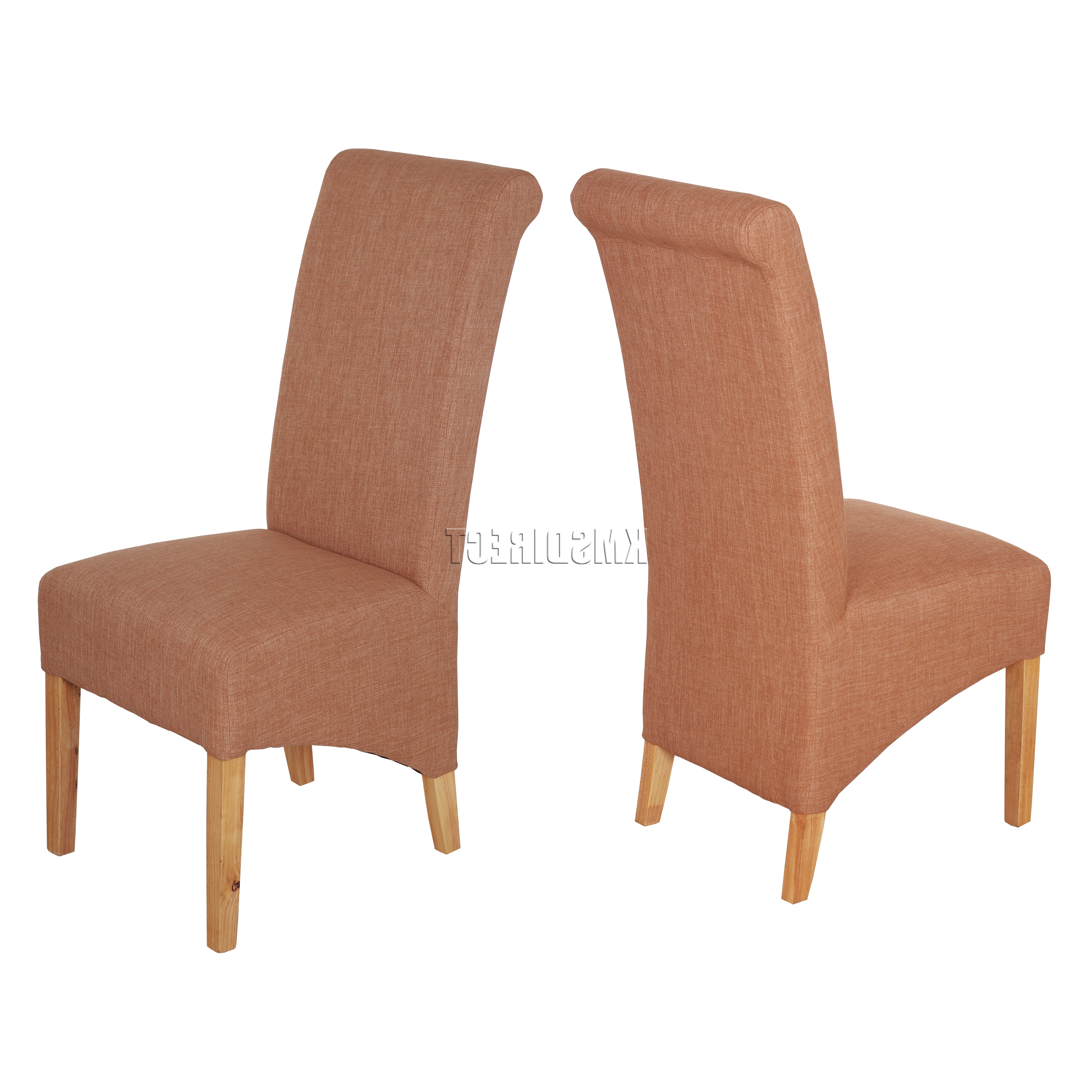 High Back Leather Dining Chairs pertaining to Favorite Westwood New Linen Fabric Dining Chairs Roll Top Scroll High Back