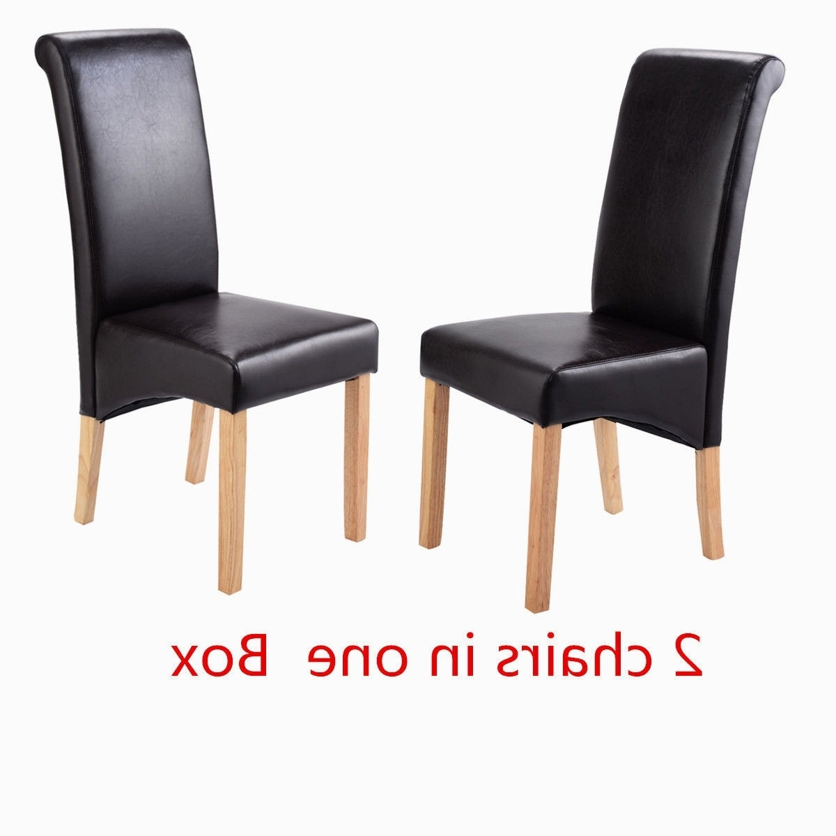 High Back Leather Dining Chairs With Well Known Dining Chairs Faux Leather Roll Top Scroll High Back Oak Solid (View 8 of 25)