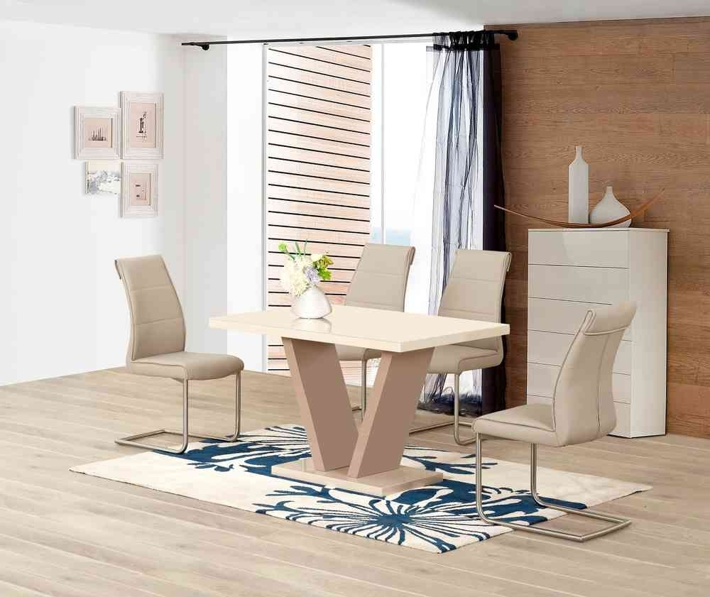 High Gloss Cream Dining Tables regarding 2018 Cream High Gloss Dining Table And 4 Taupe Chairs - Homegenies