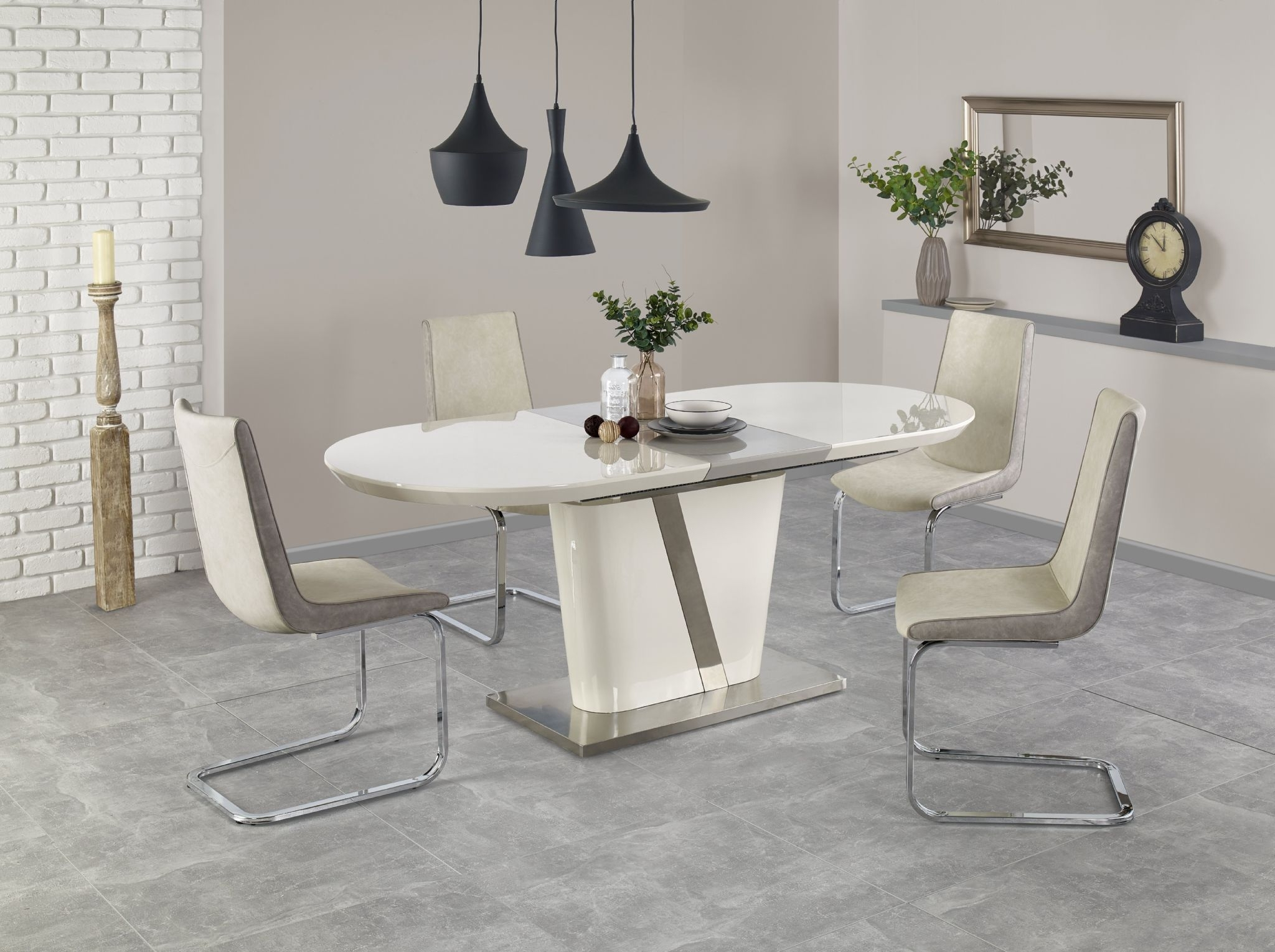 High Gloss Cream Dining Tables with Newest Retro Dining Table Extendable And Chairs Corner Cream High Gloss