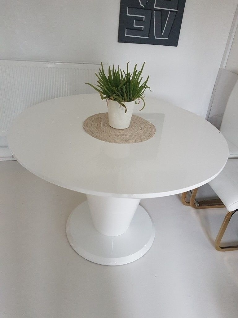 High Gloss Round Dining Tables regarding Preferred White High Gloss Round Dining Table