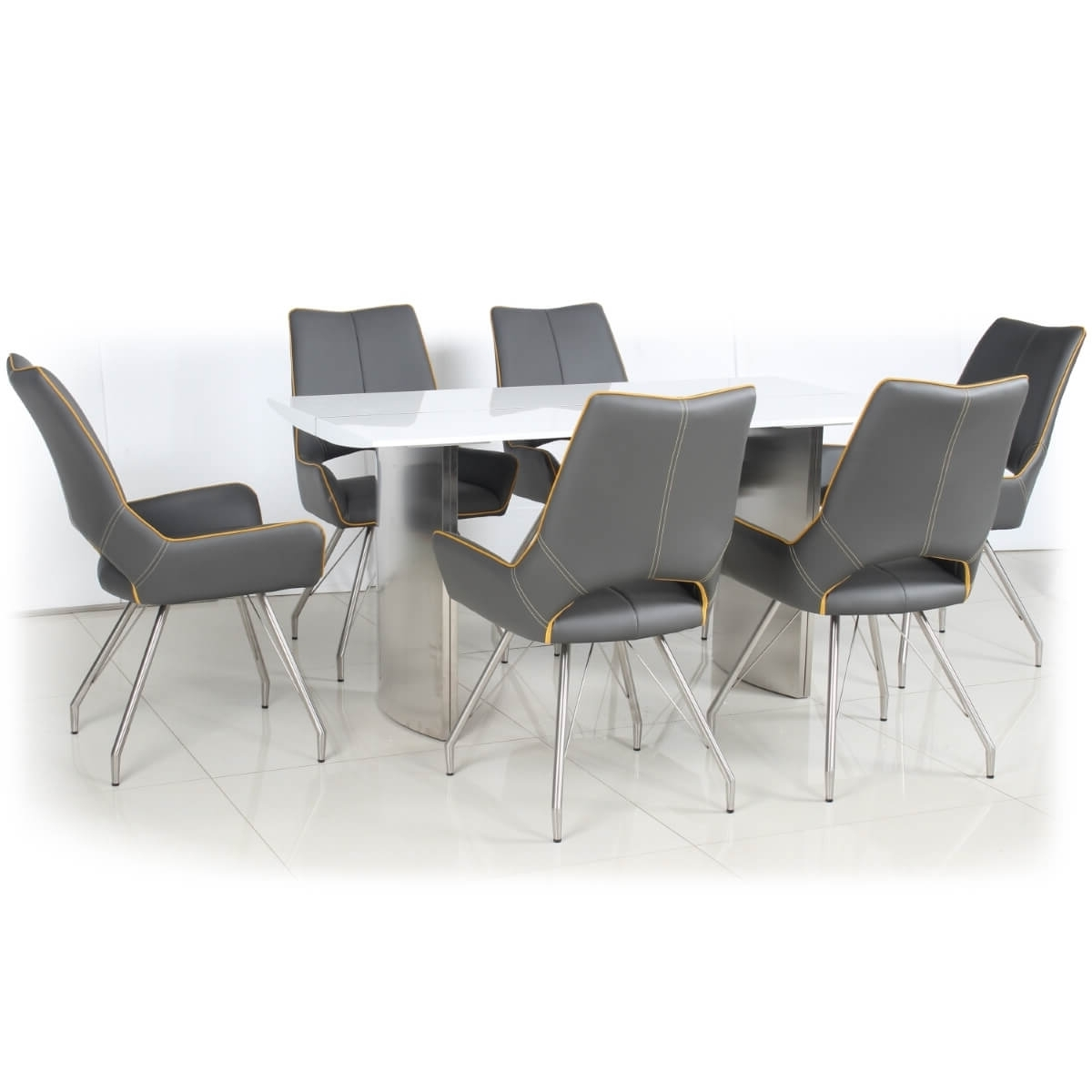 High Gloss White Dining Chairs Inside Current Dining Set – White High Gloss Dining Table And 6 Grey Dining Chairs (View 15 of 25)