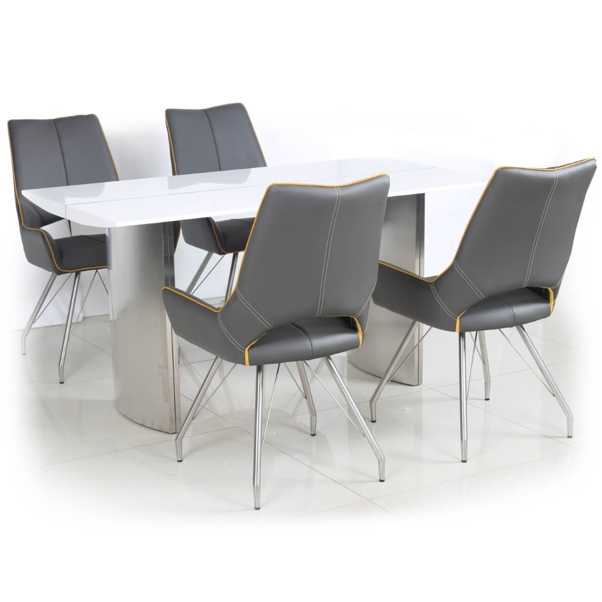High Gloss White Dining Chairs Inside Popular Dining Set – White High Gloss Dining Table And 4 Grey Dining Chairs (Gallery 23 of 25)