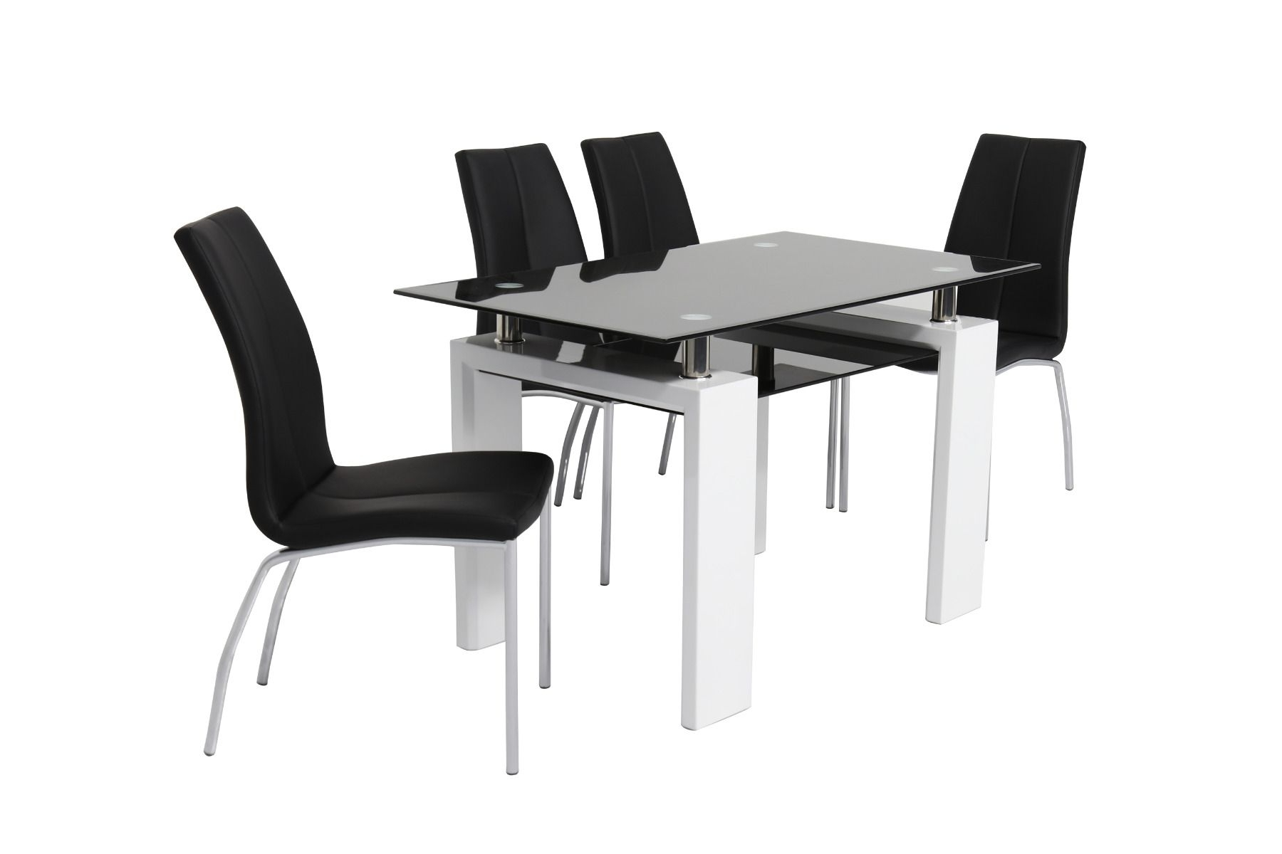 High Gloss White Dining Chairs Pertaining To Most Up To Date Metro Black Glass & High Gloss White Dining Table (120Cm) With (Gallery 18 of 25)