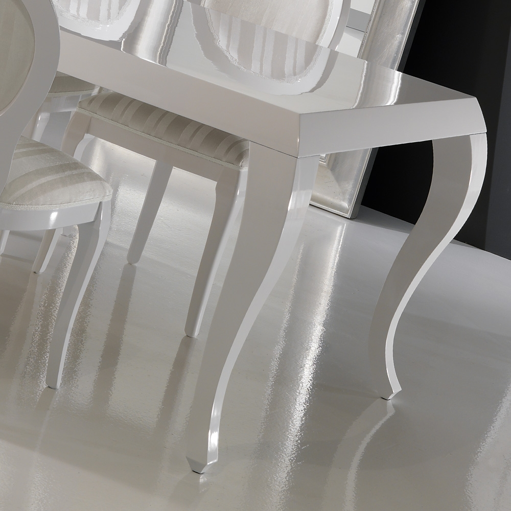 High Gloss White Dining Chairs throughout Widely used High Gloss White Lacquered Dining Table And Chairs Set