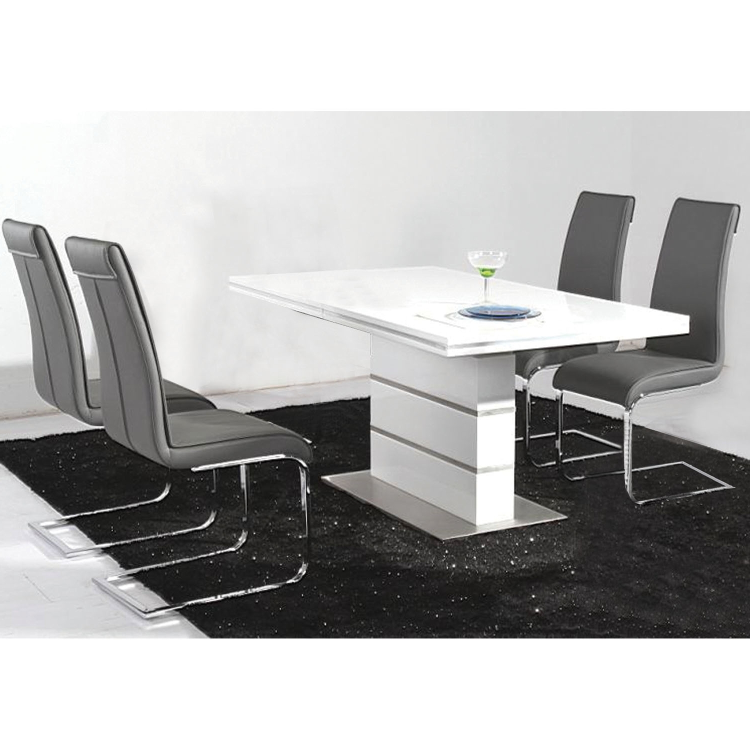 High Gloss White Extending Dining Tables pertaining to Preferred Awesome Dining Set With White High Gloss Dining Table With Metal