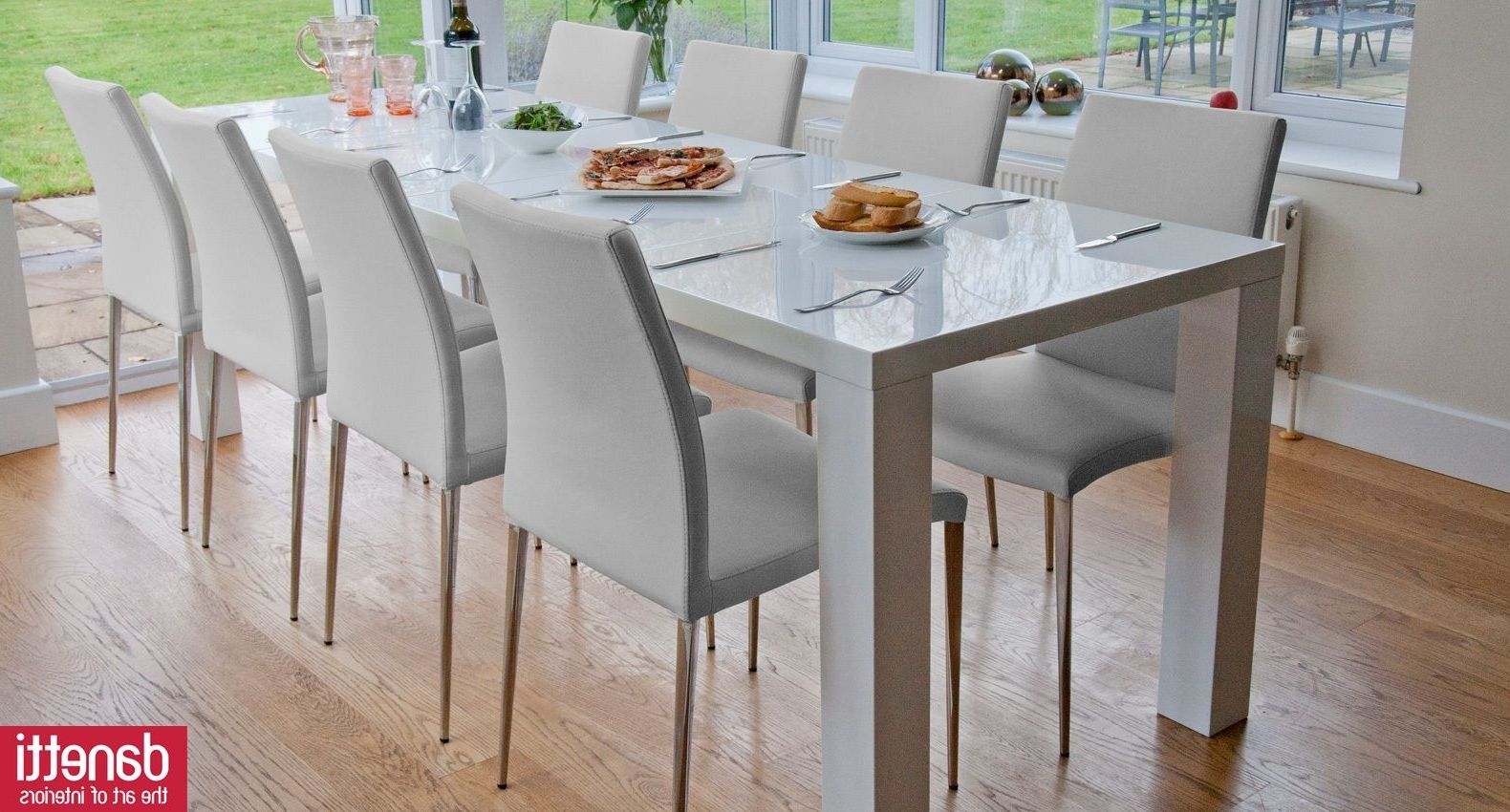 High Gloss White Texture High Gloss White Dining Table (Gallery 9 of 25)
