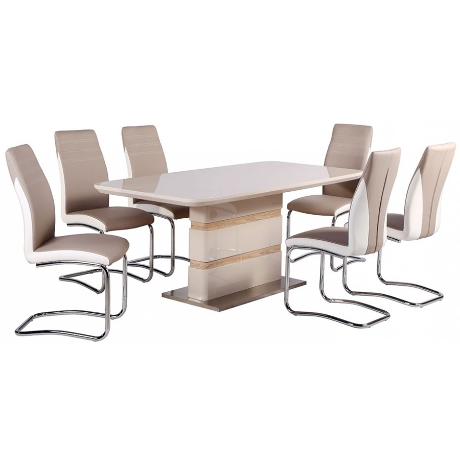 High Gloss Zuri Fixed Table Gloss Table Ba throughout Newest Cream Gloss Dining Tables And Chairs