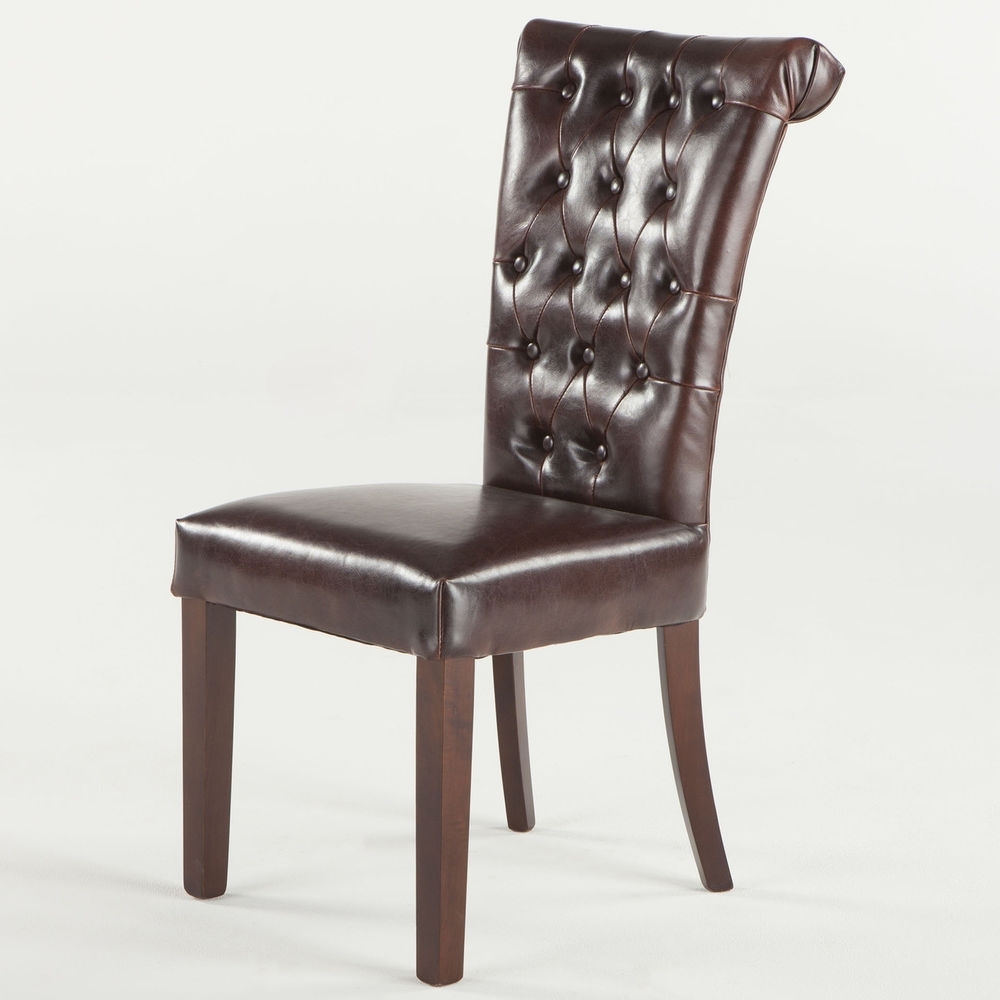 High Tufted Buttoned Back Leather Dining Chair Rolled Back Eames in Trendy High Back Leather Dining Chairs