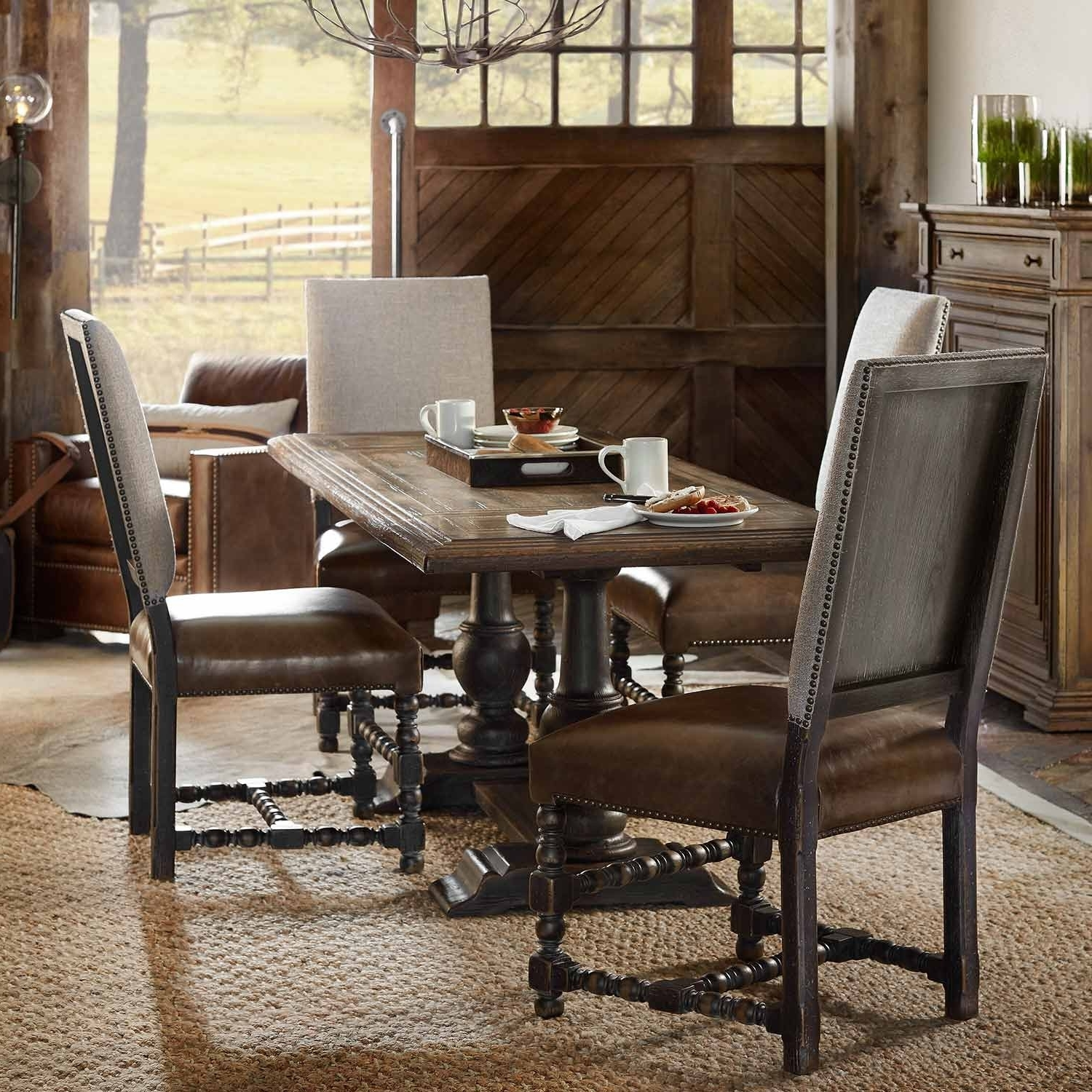 Hill Country Balcones Wood Rectangular Trestle Dining Table In Dark Wood In Most Recently Released Dining Tables Dark Wood (Gallery 15 of 25)