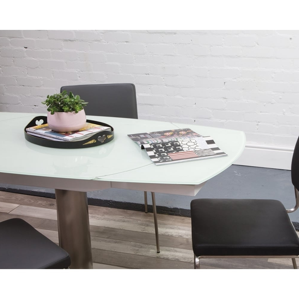 Hnd Imola Glass Extending Table - Brushed Steel Base At Smiths The Rink in Well known Extending Glass Dining Tables