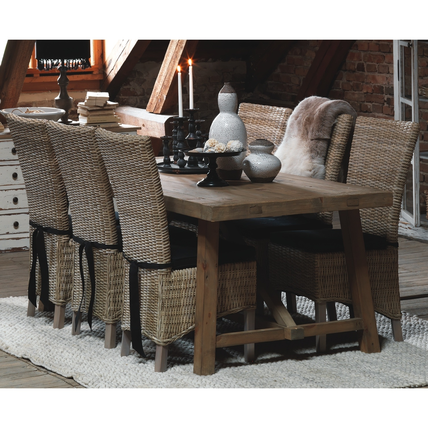 Home Decor Pertaining To Rattan Dining Tables And Chairs (View 7 of 25)