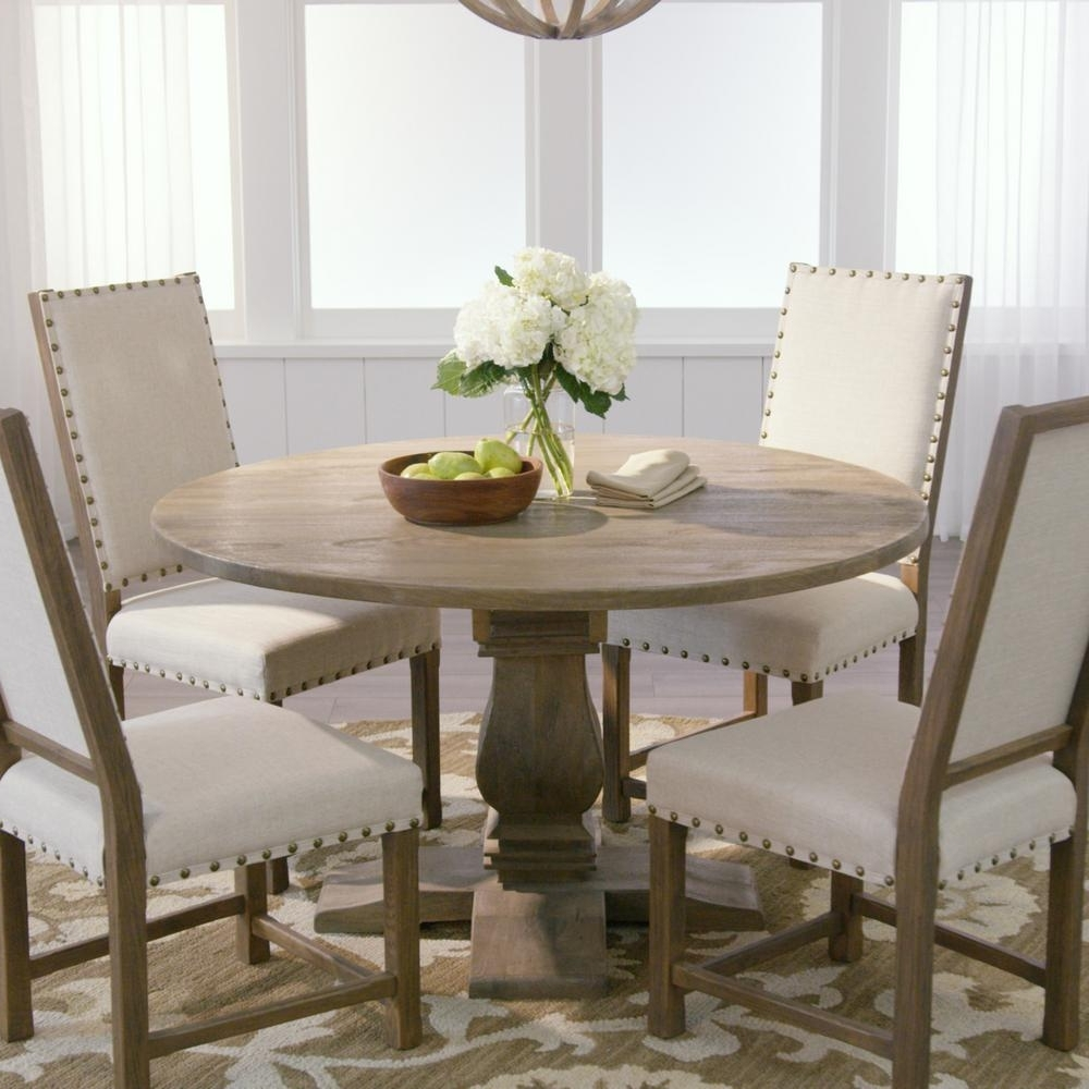 Home Decorators Collection Aldridge Antique Grey Round Dining Table inside 2017 Grey Dining Tables