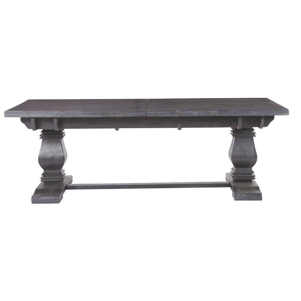 Home Decorators Collection Aldridge Washed Black Extendable Dining inside Favorite Black Extending Dining Tables