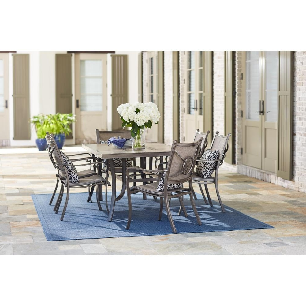 Home Decorators Collection Wilshire Estates 7-Piece Aluminum with Newest Candice Ii 5 Piece Round Dining Sets