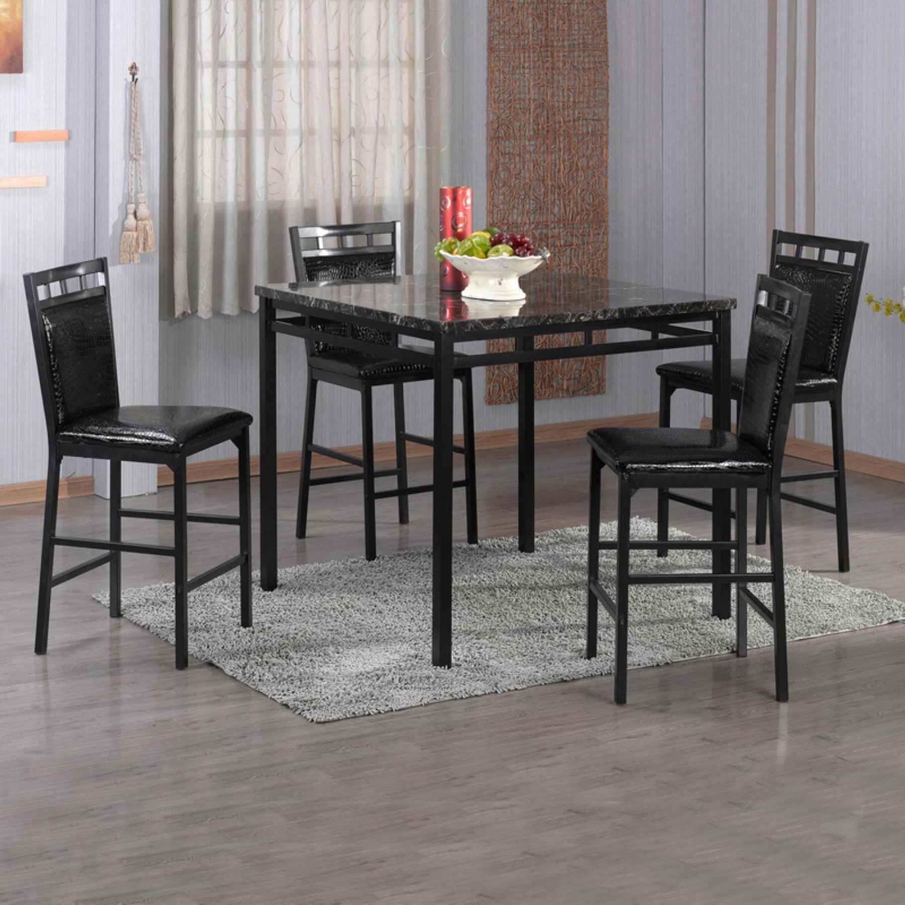 Home Source Industries 5 Piece Counter Height Dining Table Set In within Most Up-to-Date Valencia 5 Piece Round Dining Sets With Uph Seat Side Chairs