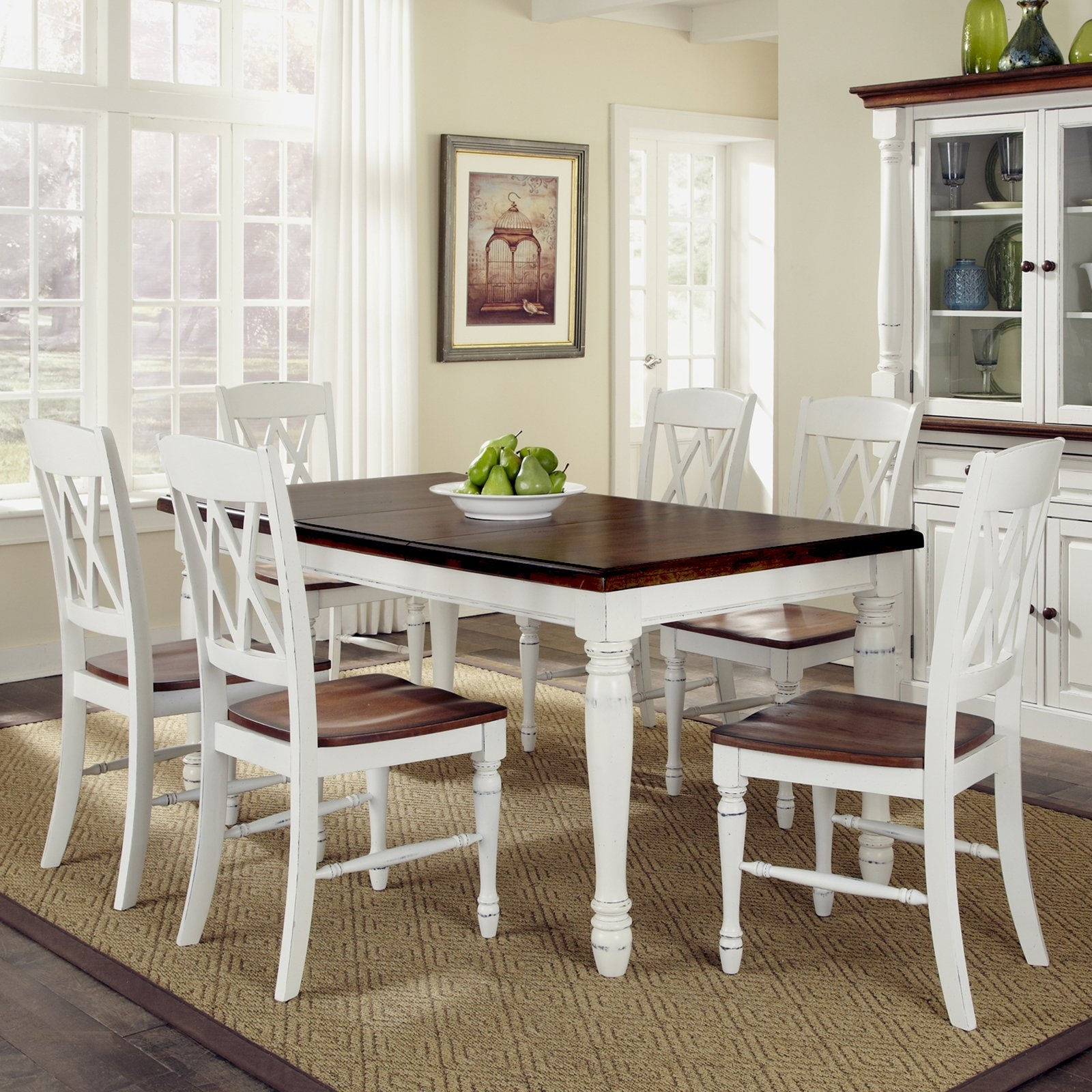Home Styles Monarch Rectangular Dining Table And 6 Double X Back Regarding Most Up To Date Dining Table Chair Sets (View 15 of 25)