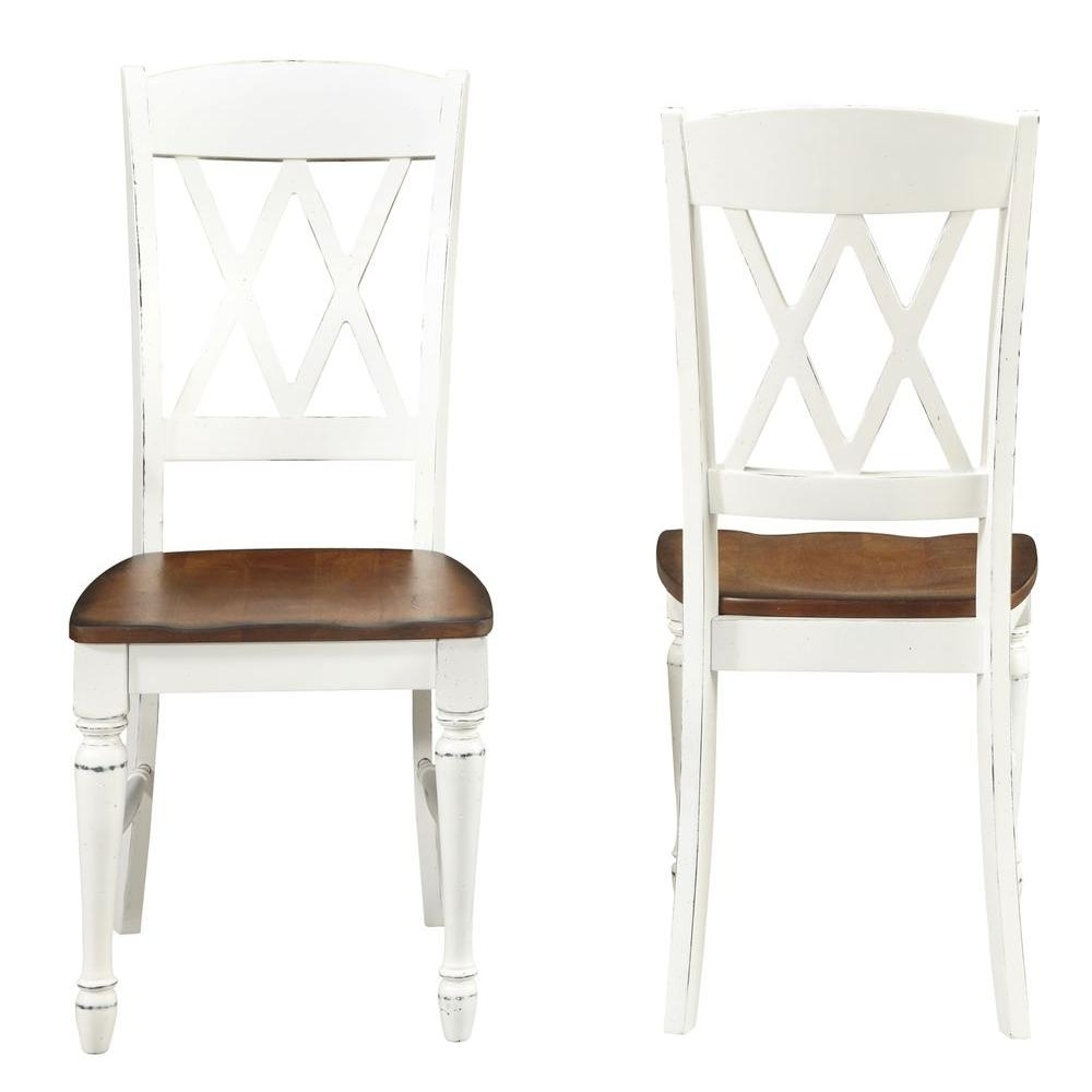 Home Styles Rubbed White Wood Double X-Back Dining Chair (Set Of 2 in Well known White Dining Chairs