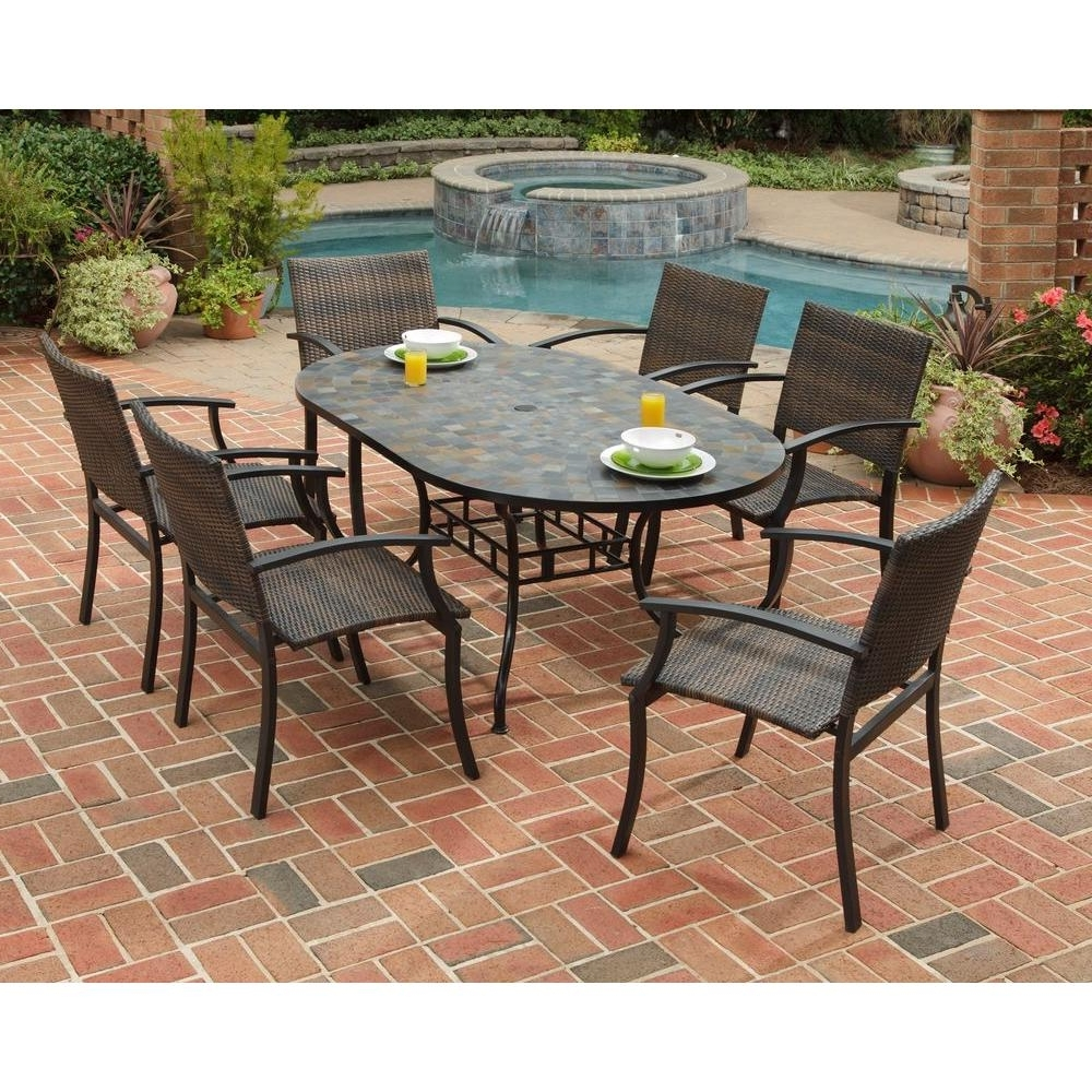 Home Styles Stone Harbor 7-Piece Slate Tile Top Rectangular Patio for Popular Mosaic Dining Tables For Sale