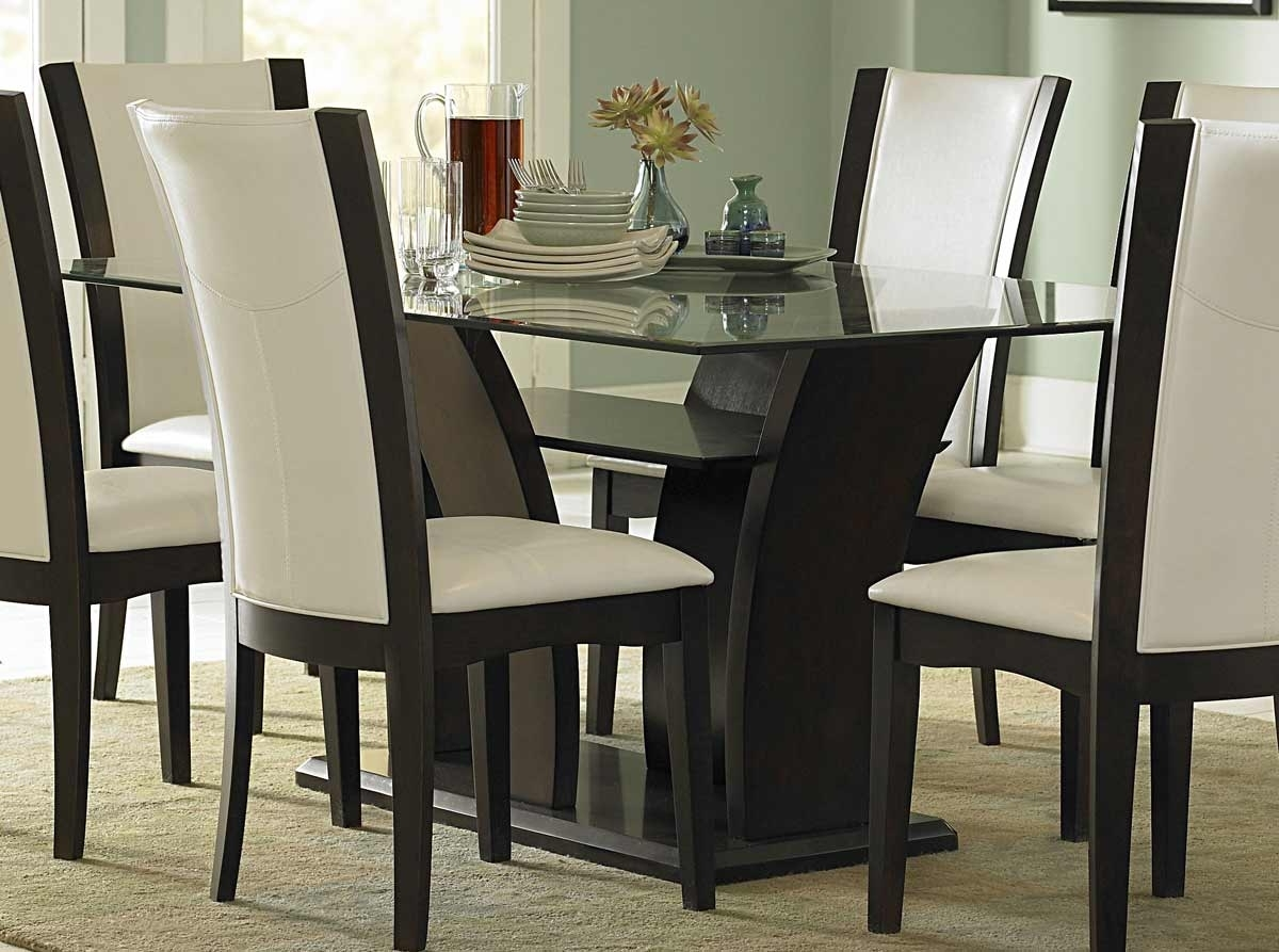 Homelegance Daisy Dining Table With Glass Top 710-72 throughout Popular Glass Dining Tables Sets
