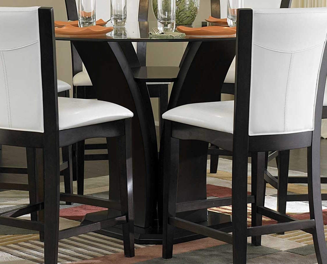 Homelegance Daisy Round Counter Height Table Glass Top 710 36Rd Pertaining To Preferred Round Black Glass Dining Tables And 4 Chairs (View 11 of 25)