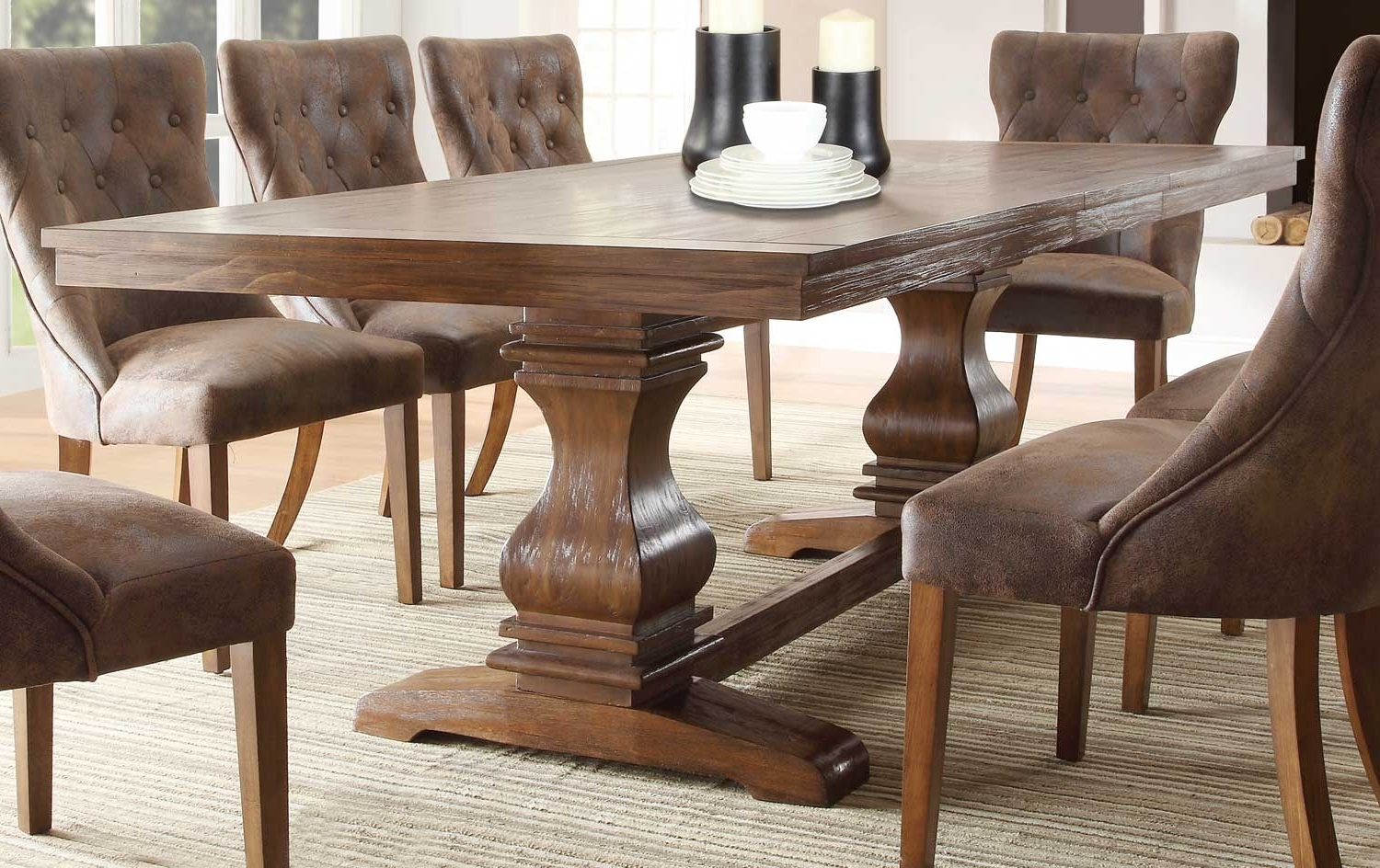 Homelegance Marie Louise Dining Table - Rustic Oak Brown 2526-96 with regard to Trendy Rustic Oak Dining Tables