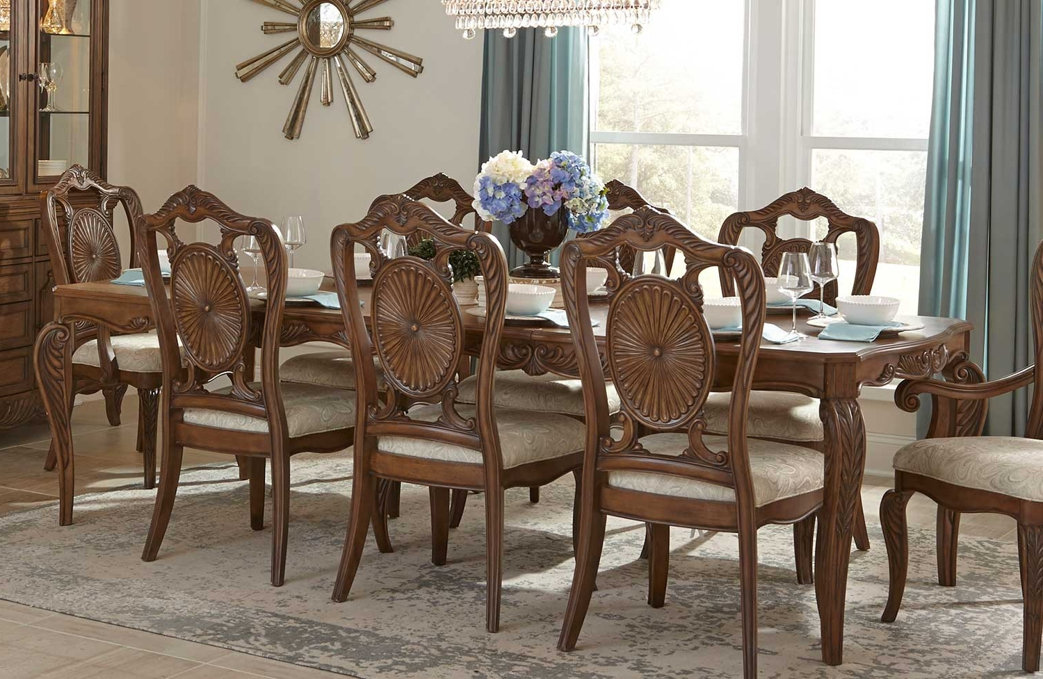 Homelegance Moorewood Park Dining Table With Leaf - Pecan 1704-108 intended for Well-liked Bale Rustic Grey Dining Tables