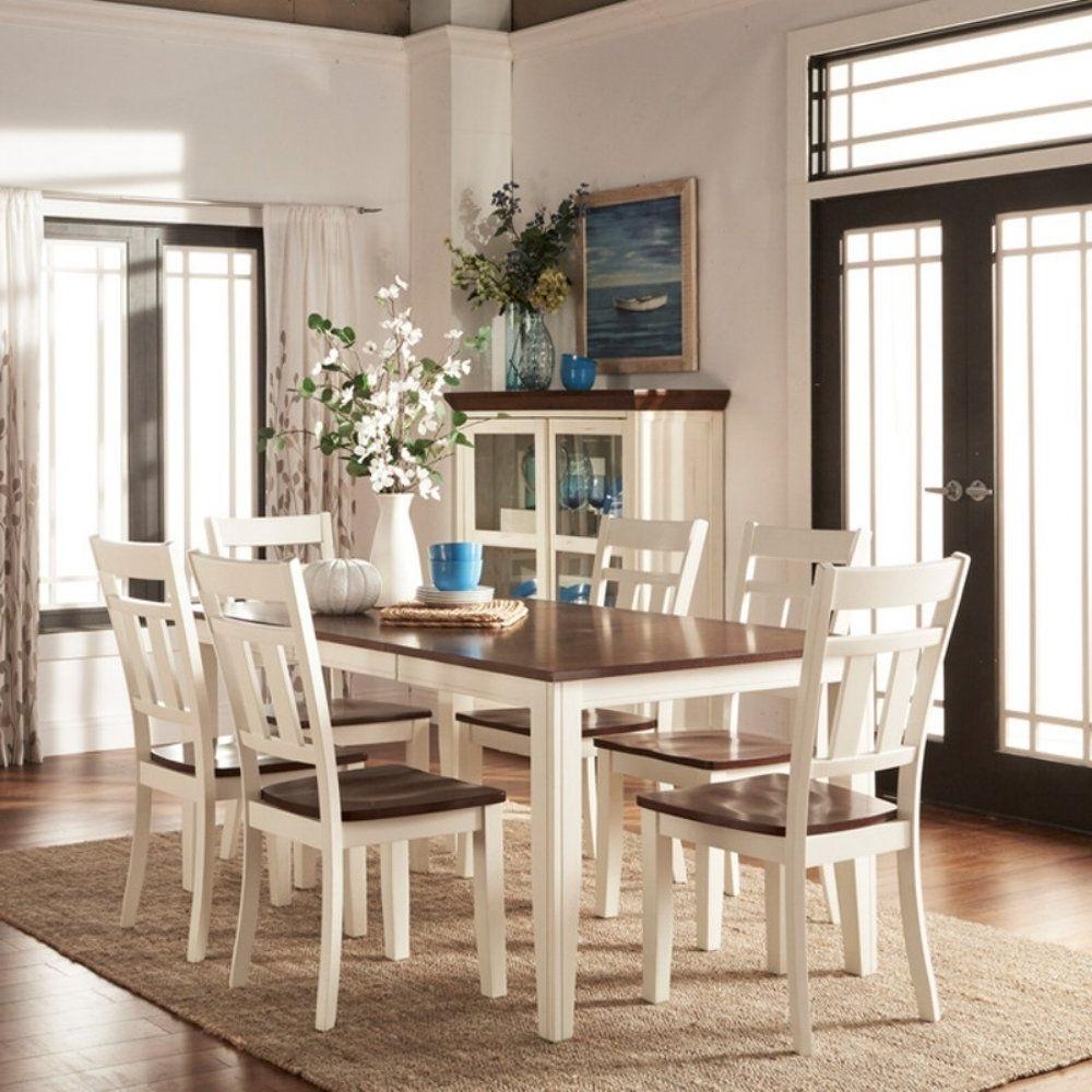 Homelegance Paxton 7 Piece Dining Table Set – White / Cherry Throughout Fashionable Leon 7 Piece Dining Sets (Gallery 12 of 25)