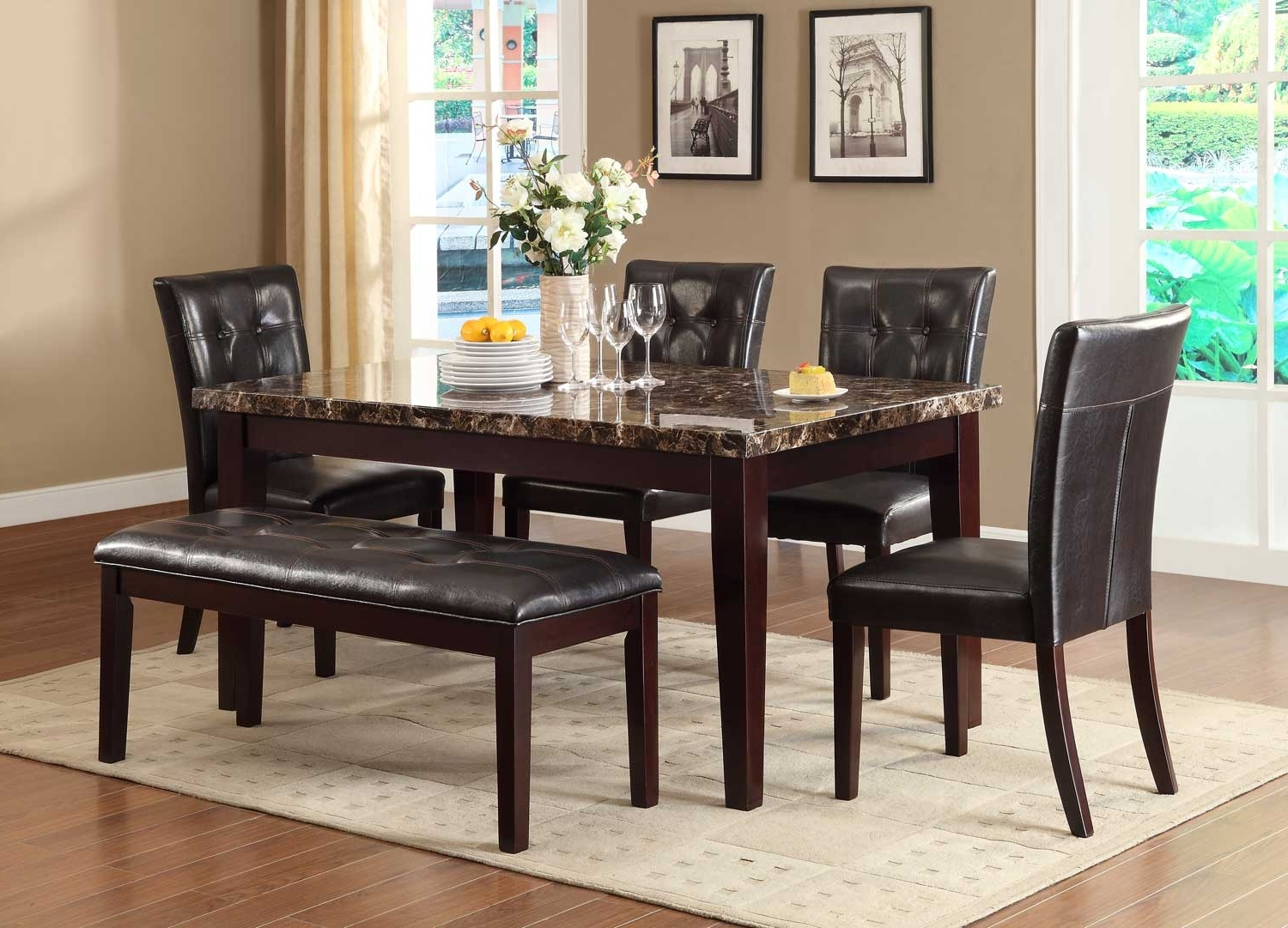 Homelegance Teague Faux Marble Dining Set - Espresso D2544-64 regarding Trendy Marble Dining Chairs