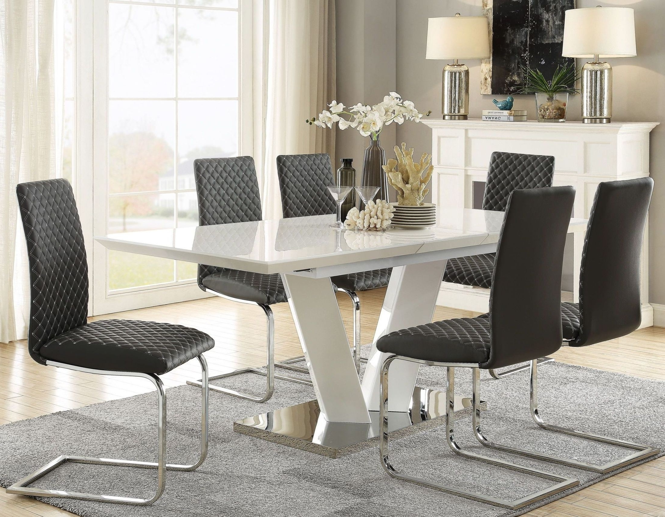 Homelegance Yannis White High Gloss Extendable Dining Table – Yannis Inside Best And Newest High Gloss Extendable Dining Tables (Gallery 25 of 25)