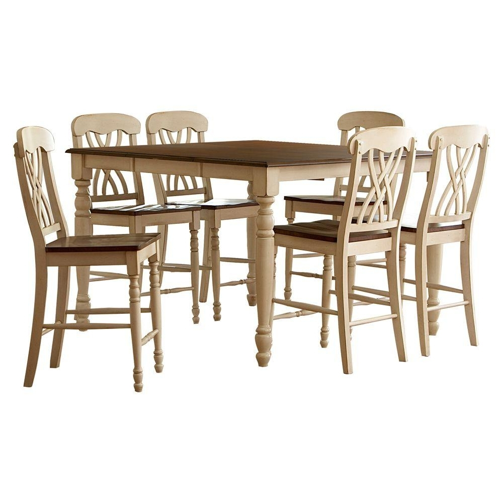 Homesullivan 7 Piece Antique White And Oak Bar Table Set 401393W 36 Inside 2017 Oak Dining Tables Sets (View 7 of 25)