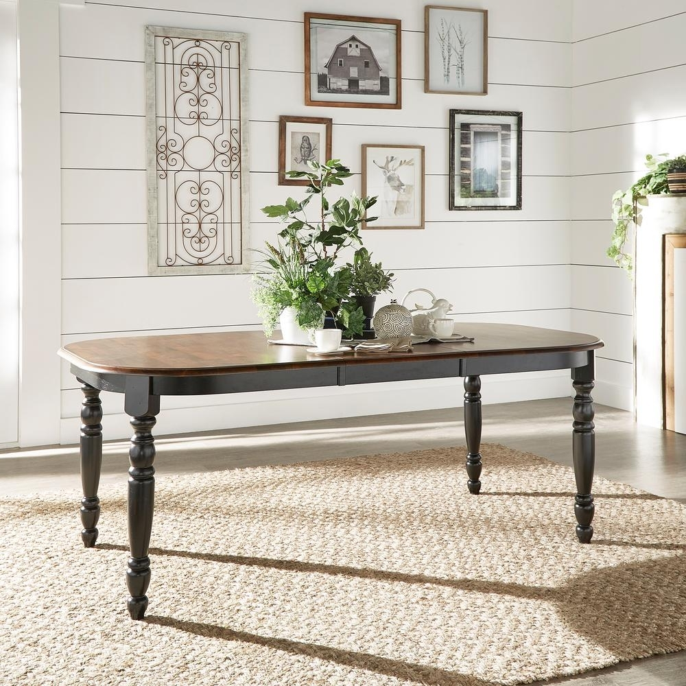 Homesullivan Anna Antique Black Extendable Dining Table-401393Bk within Widely used Black Extending Dining Tables